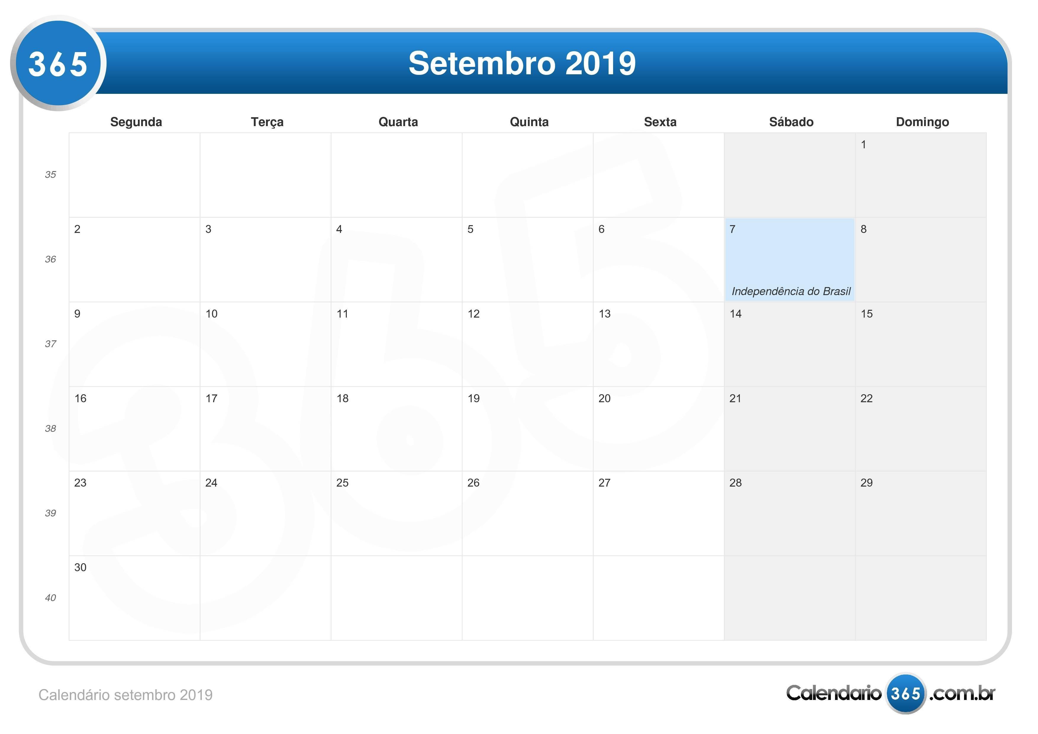 calendário setembro 2019