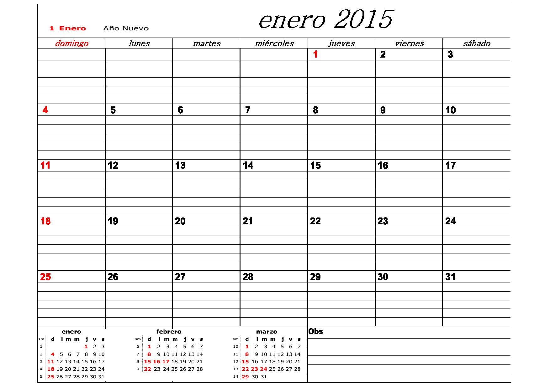 CALENDARIO 2015 DE ARGENTINA CON FERIADOS PARA JEFATURAS REGIONALES Y DISTRITALES
