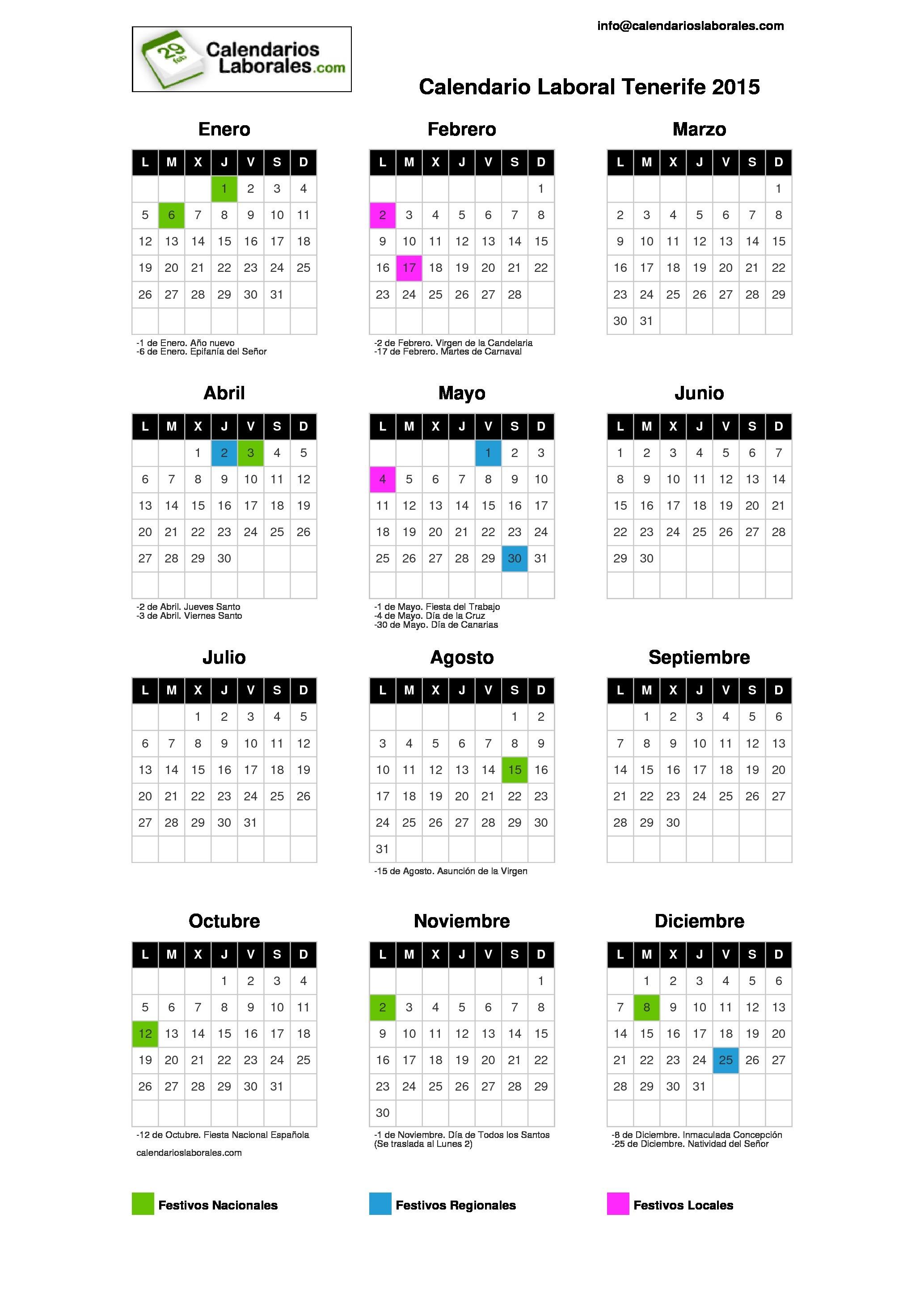Calendario 2015 Para Imprimir Com Feriados Más Recientes Calendario Laboral Tenerife S C 2015