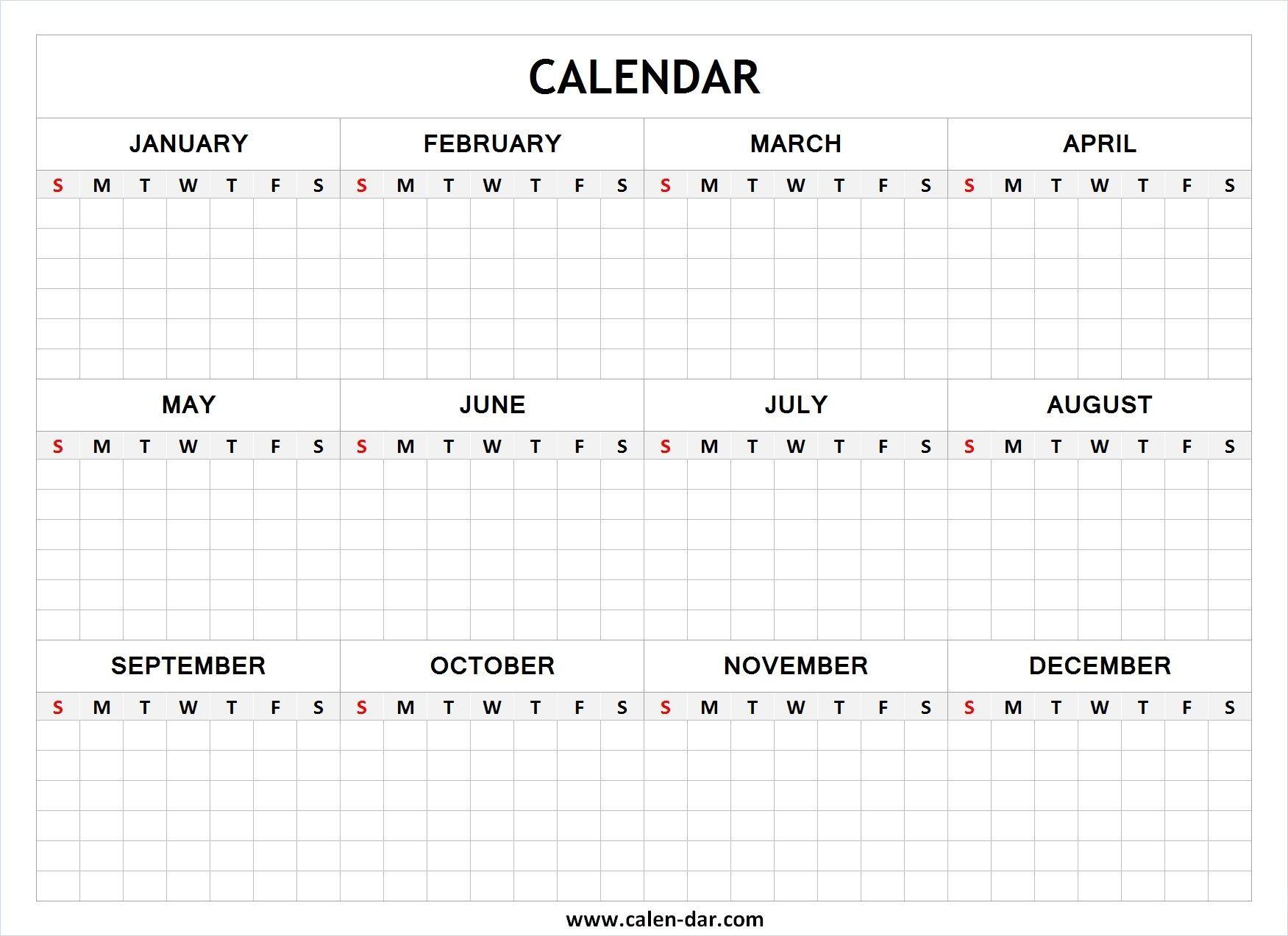 Blank Year Calendar Blank Calendar Pinterest