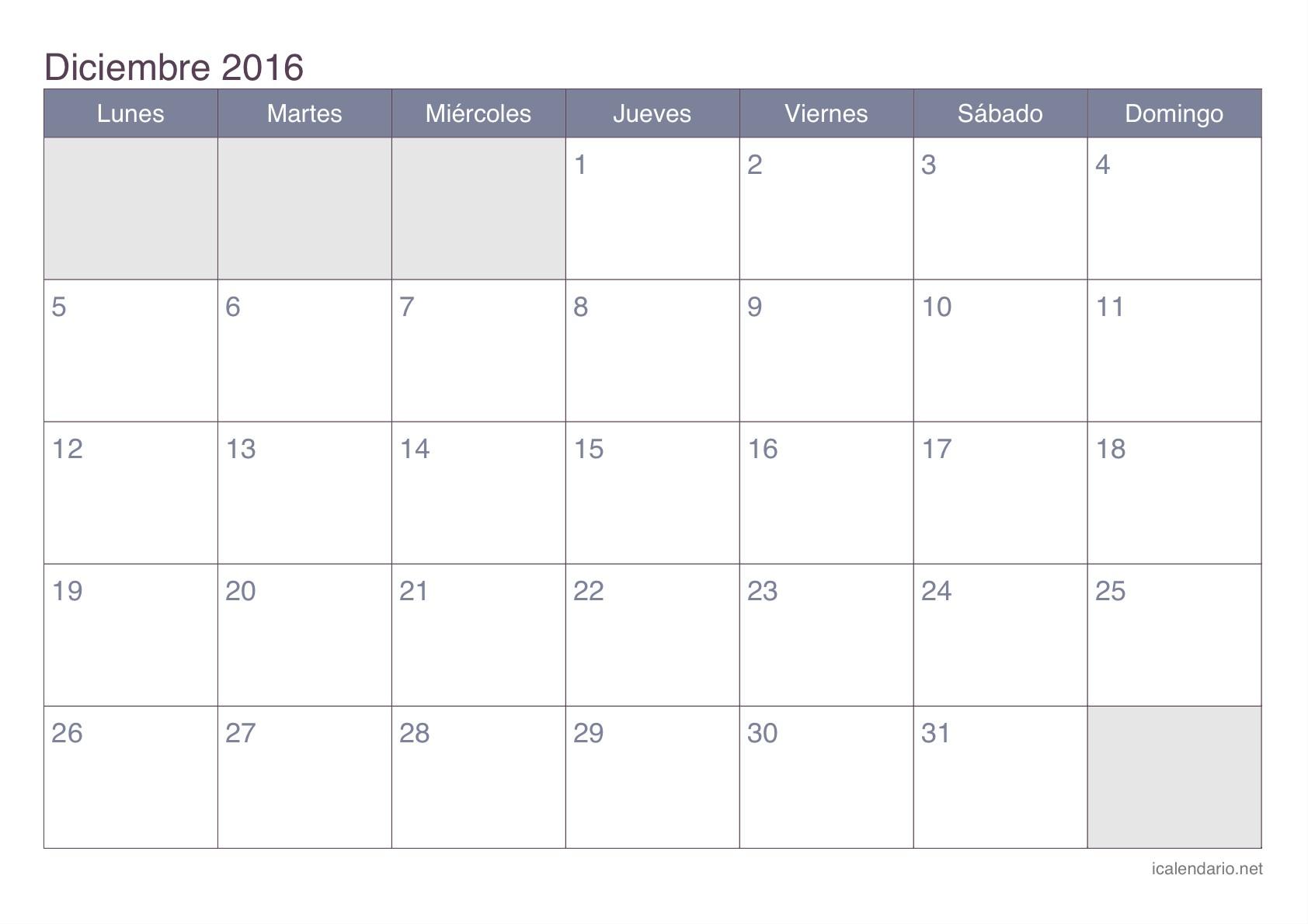 Más de 25 ideas increbles sobre Calendario diciembre 2016 en