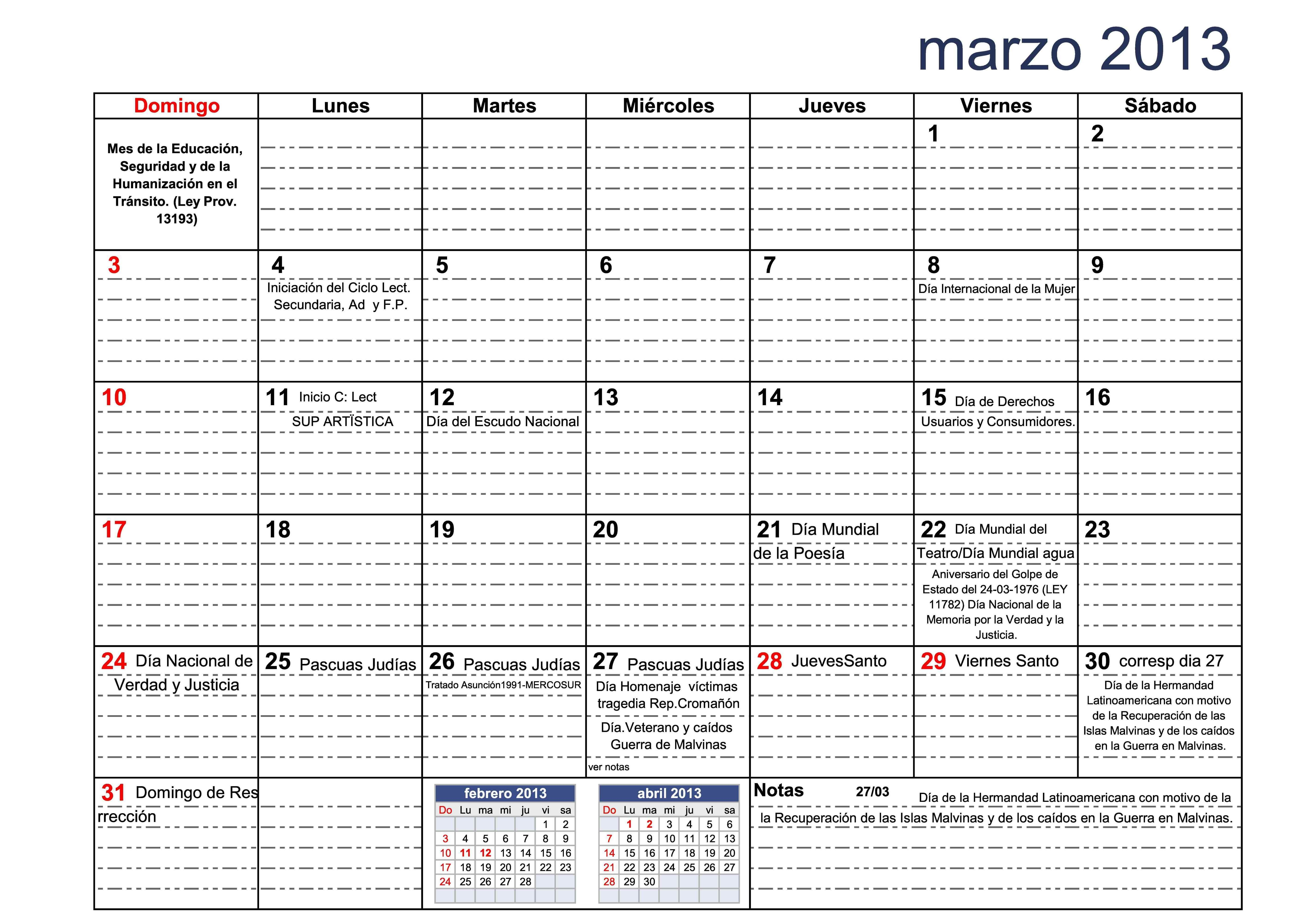 calendario 2013 marzo con cal escolar