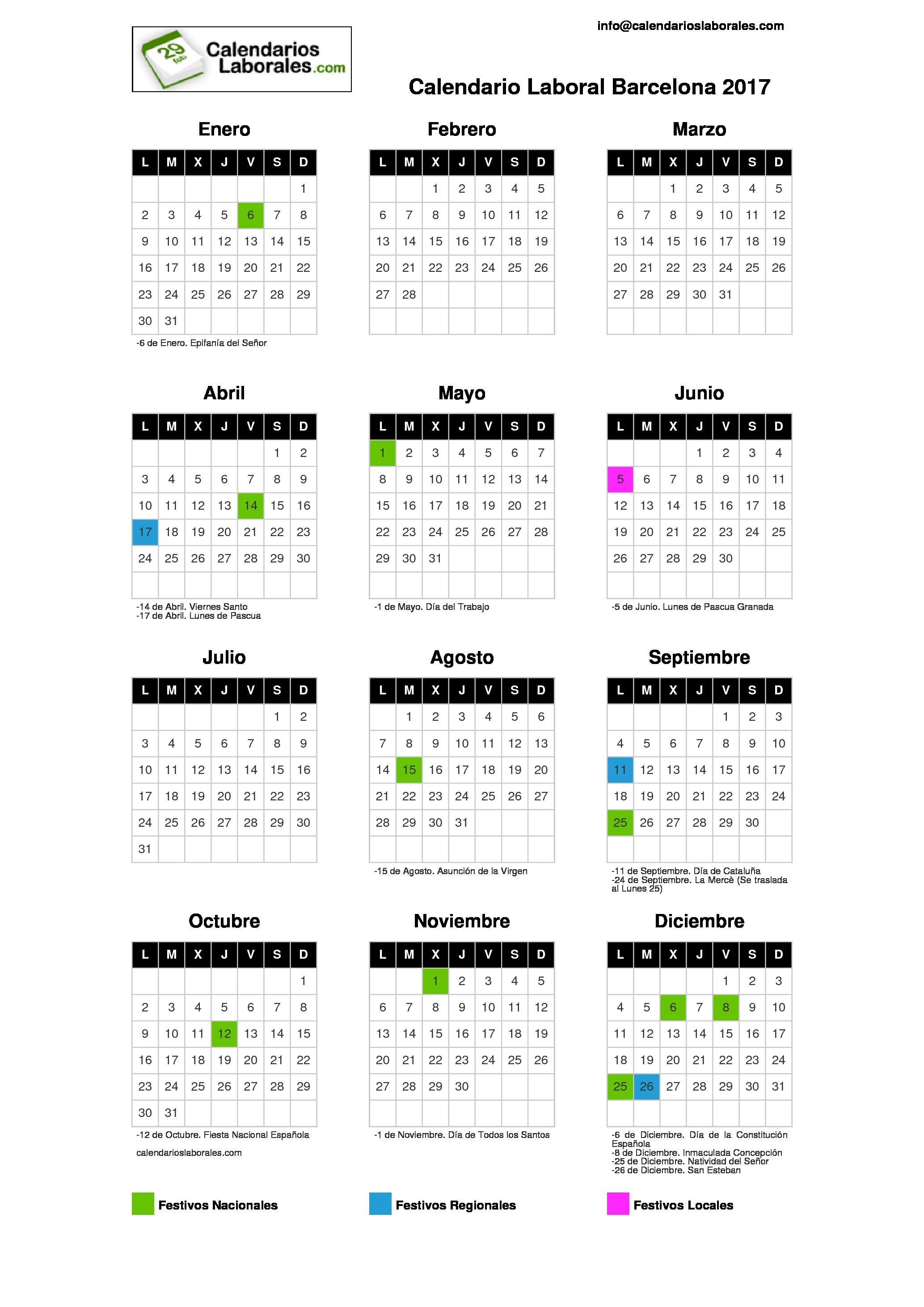 Descargar calendario Barcelona 2017 para imprimir