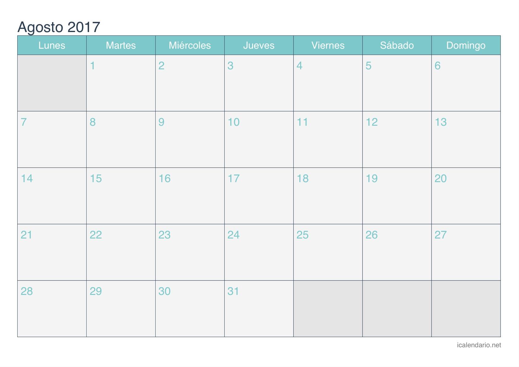 Calendario 2017 Imprimir En Blanco Más Recientes Calendario Agosto 2017 Para Imprimir Icalendario