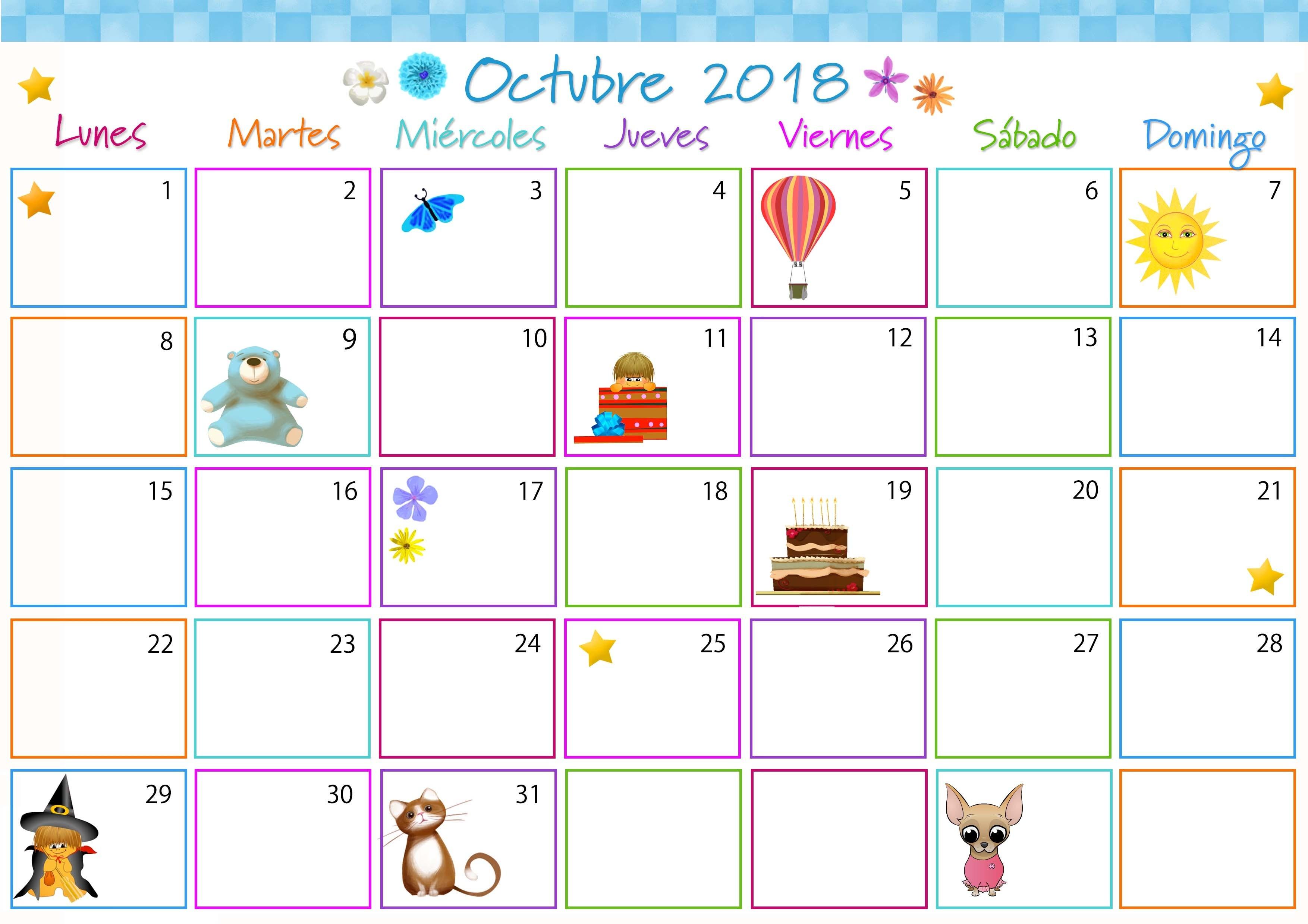 Octubre Calendario 2018 Colombia Calendario Octubre 2018 Calendario octubre 2017 para imprimir