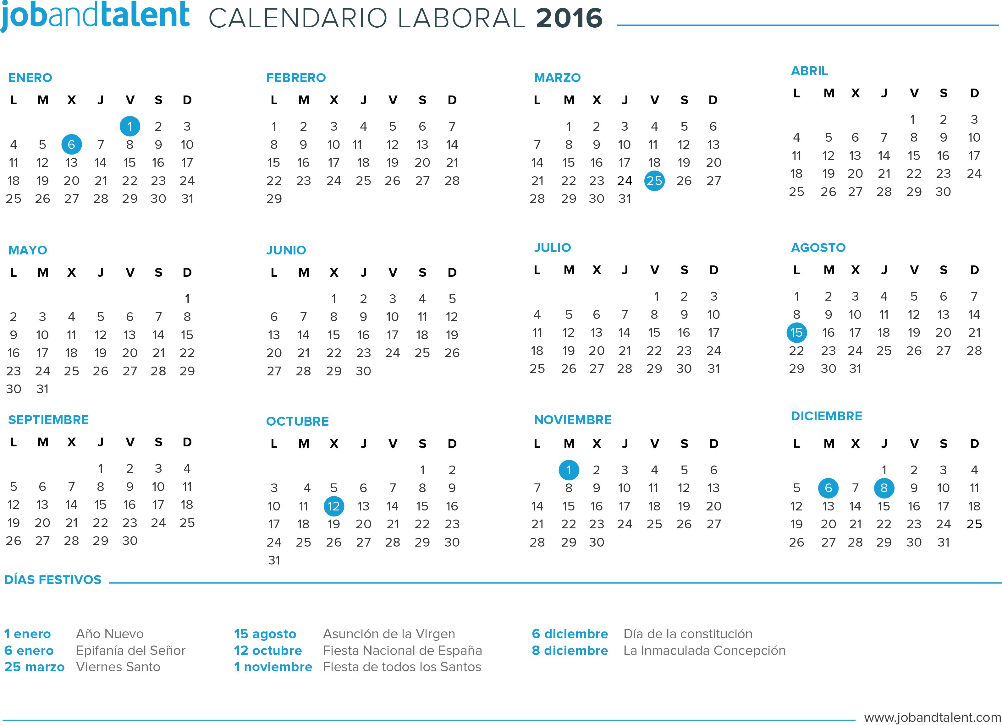 El calendario laboral 2016 for Calendario lunar 2016 colombia