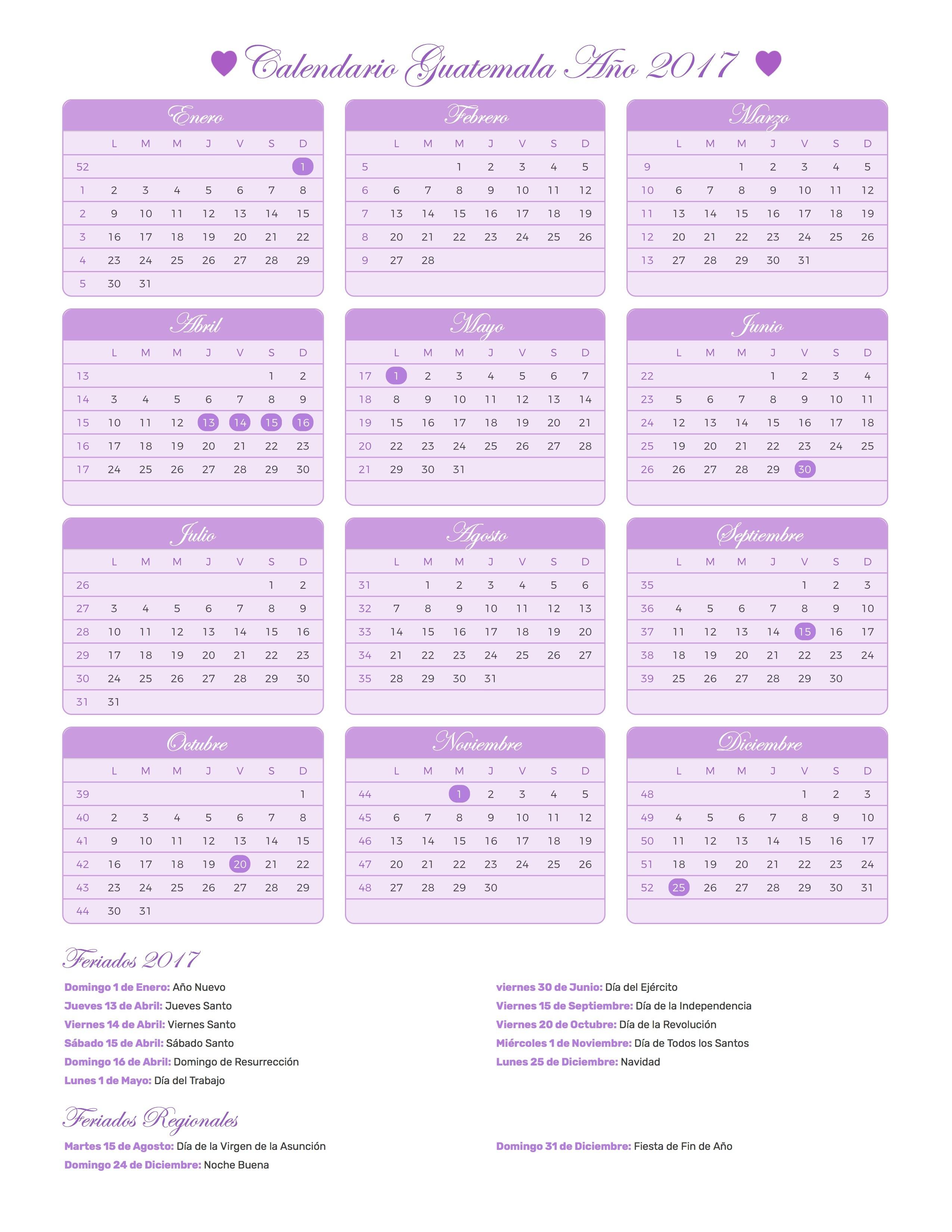Calendario Guatemala 2017