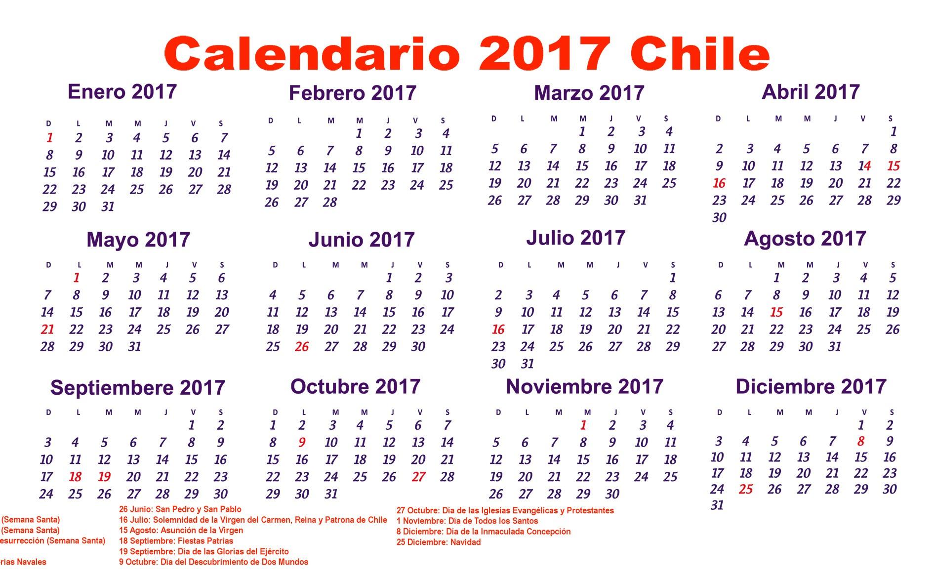 calendario chile para imprimir