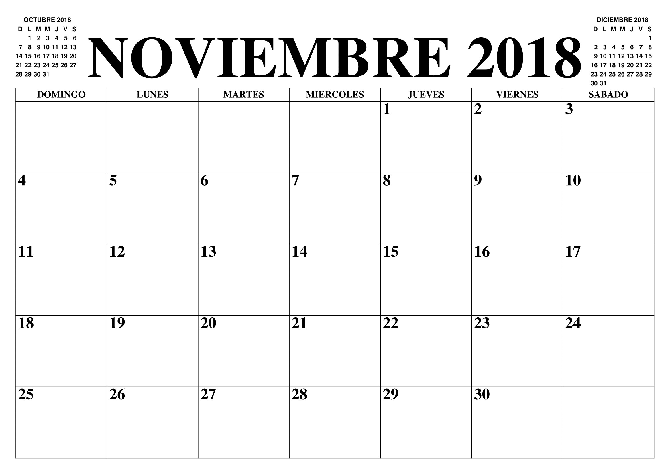 Calendario 2018 Noviembre Para Imprimir