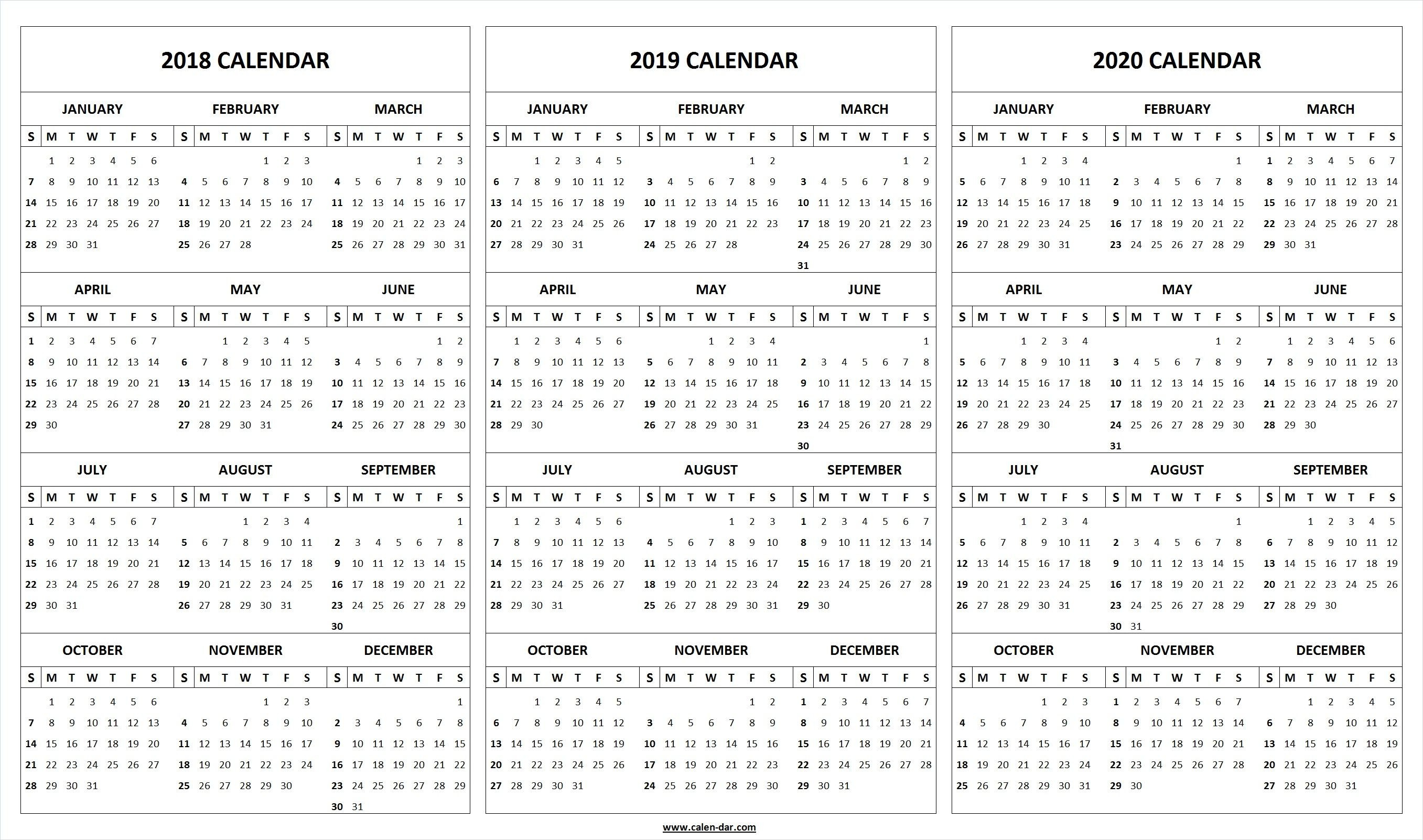 2018 2019 2020 Calendar Páginas De Calendario Calendario Anual Calendario En Blanco Plantillas