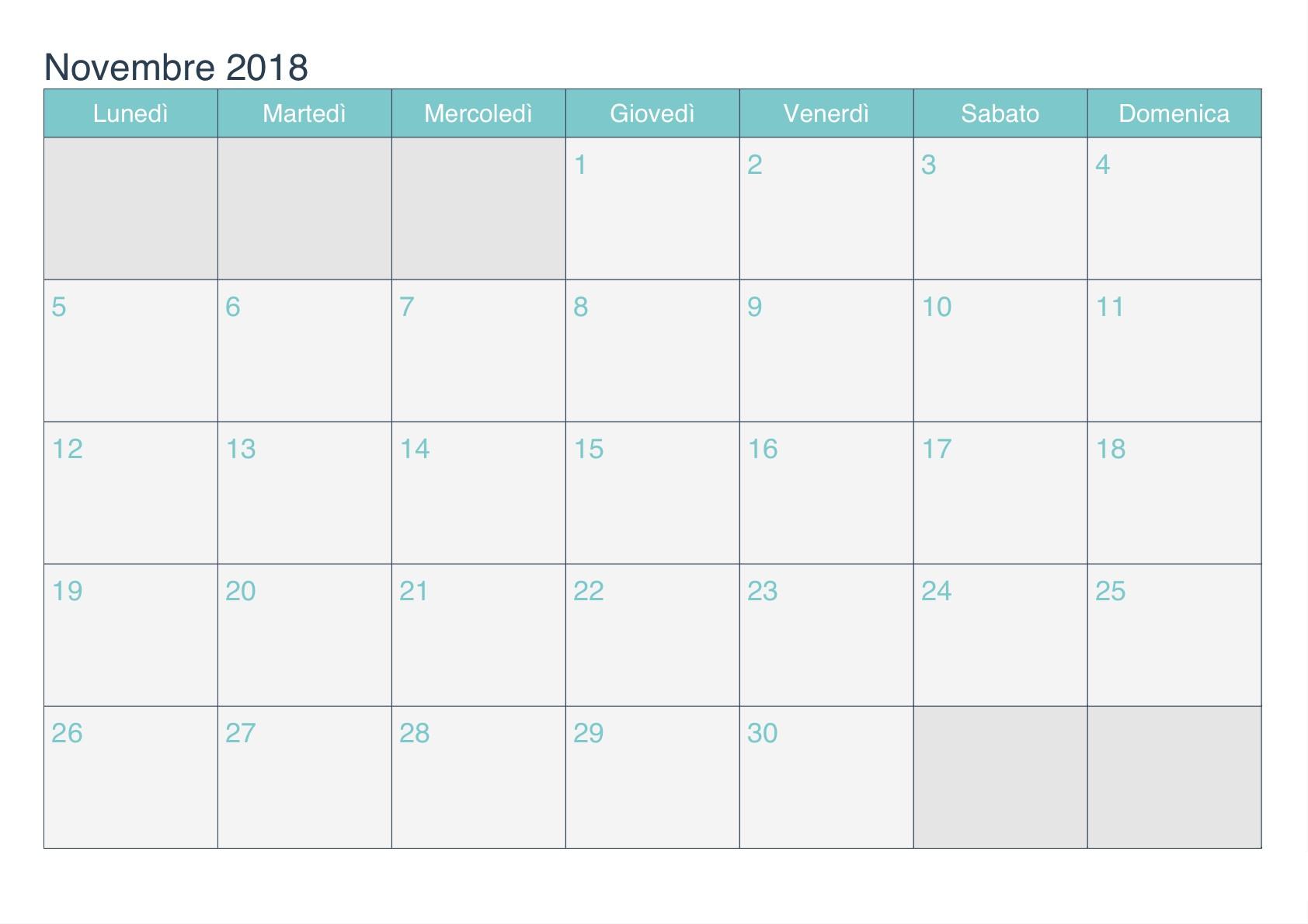 Calendario 2017 Para Imprimir Word Recientes Calendario Mese Novembre 2018