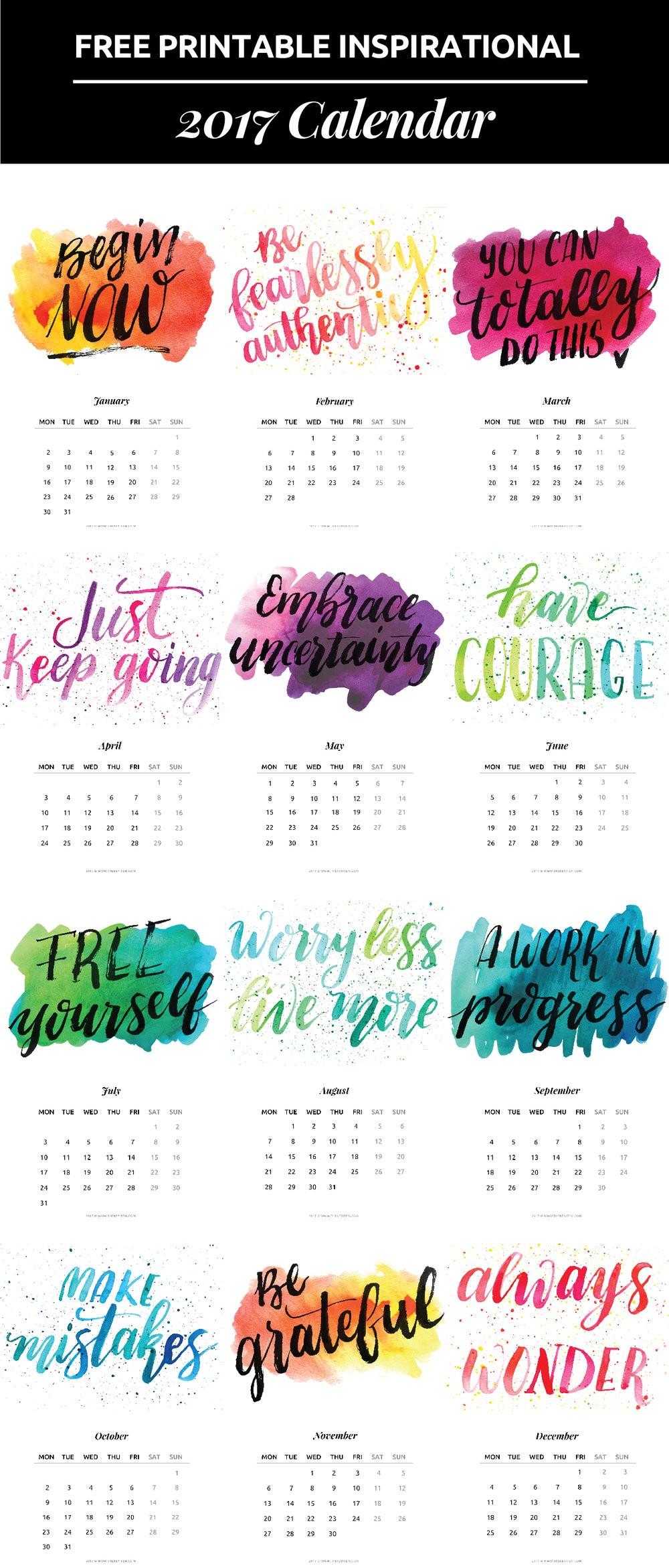 He creado un calendario 2017 con frases de inspiraci³n para todo el emprededor Imprirlo facilmente
