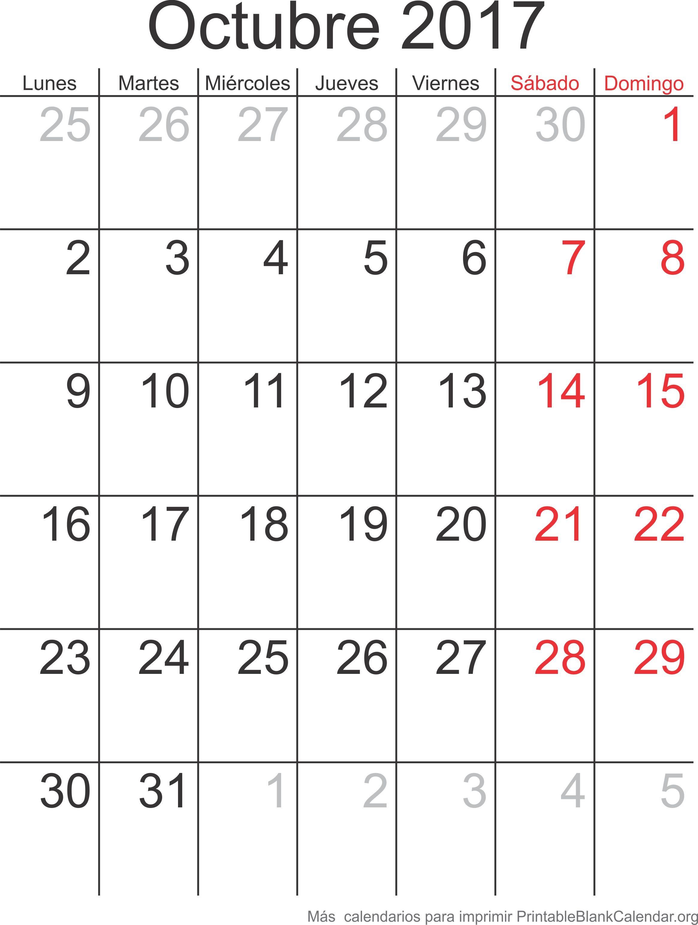 Octubre 2017 calendario para imprimir calendarios para for Calendario de lunas octubre 2016