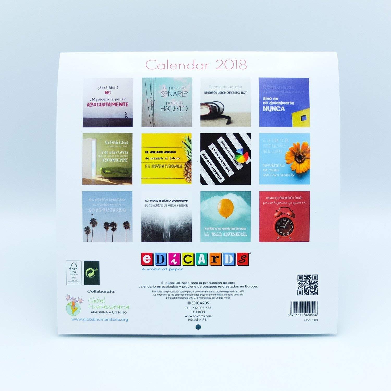Calendario de pared Motivacion 2018 marca Edicards con fotografas y frases que inspiran Impreso en papel fotográfico de alta calidad 21 x 21 Amazon