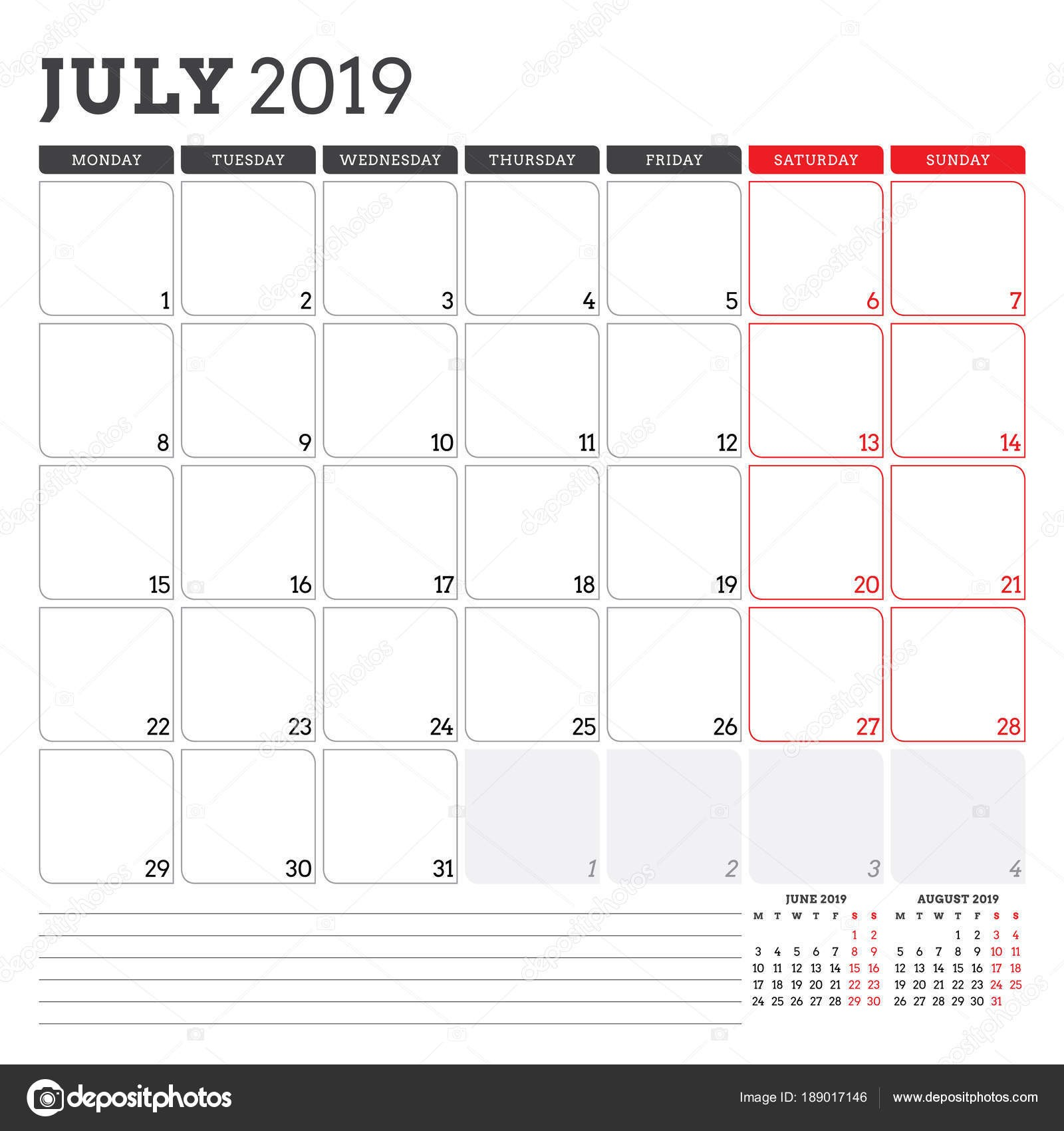 Planificador de calendario para julio de 2019 La semana ienza el lunes Plantilla de dise±o de vectores para imprimir papelera — Vector de AntartStock