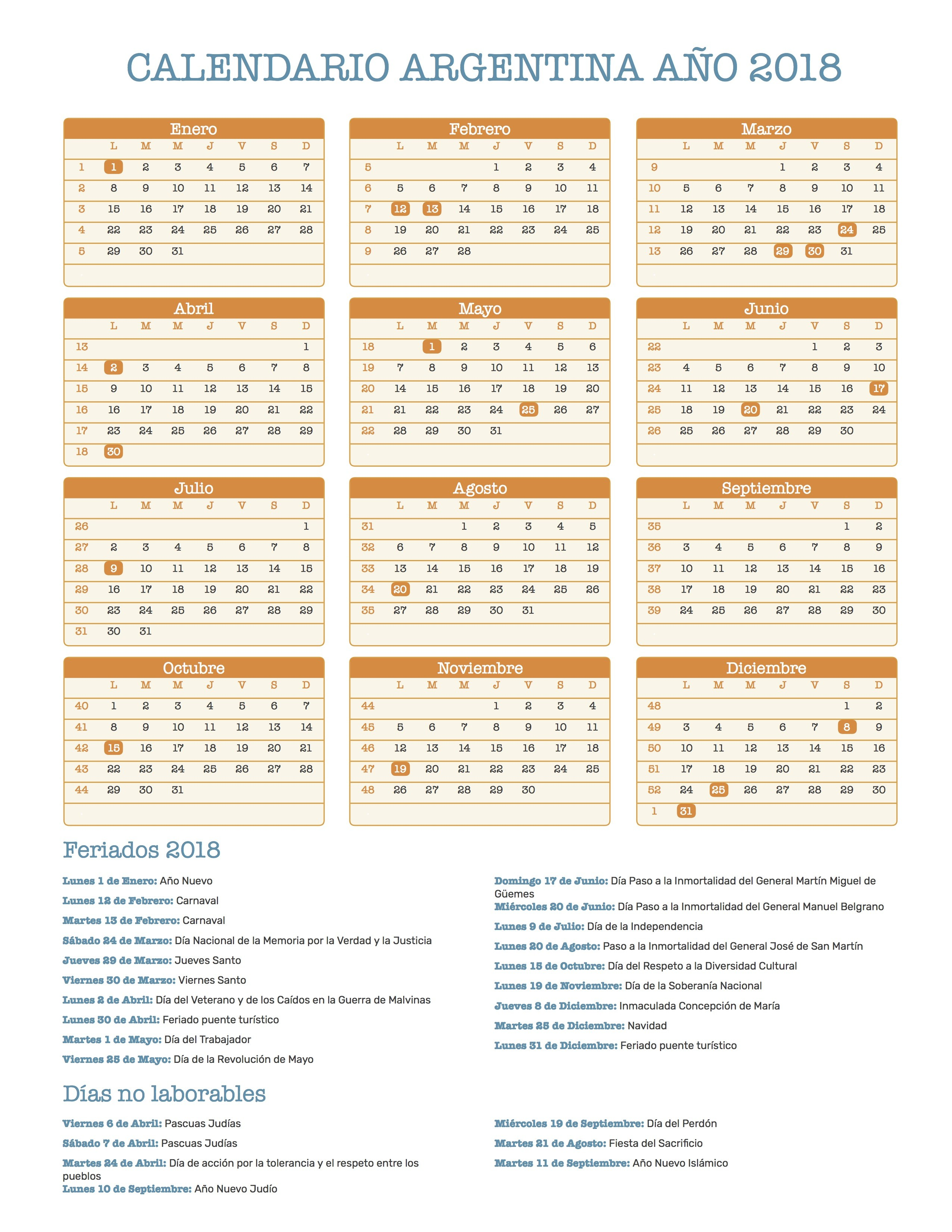 Calendario para Imprimir de Argentina con feriados nacionales