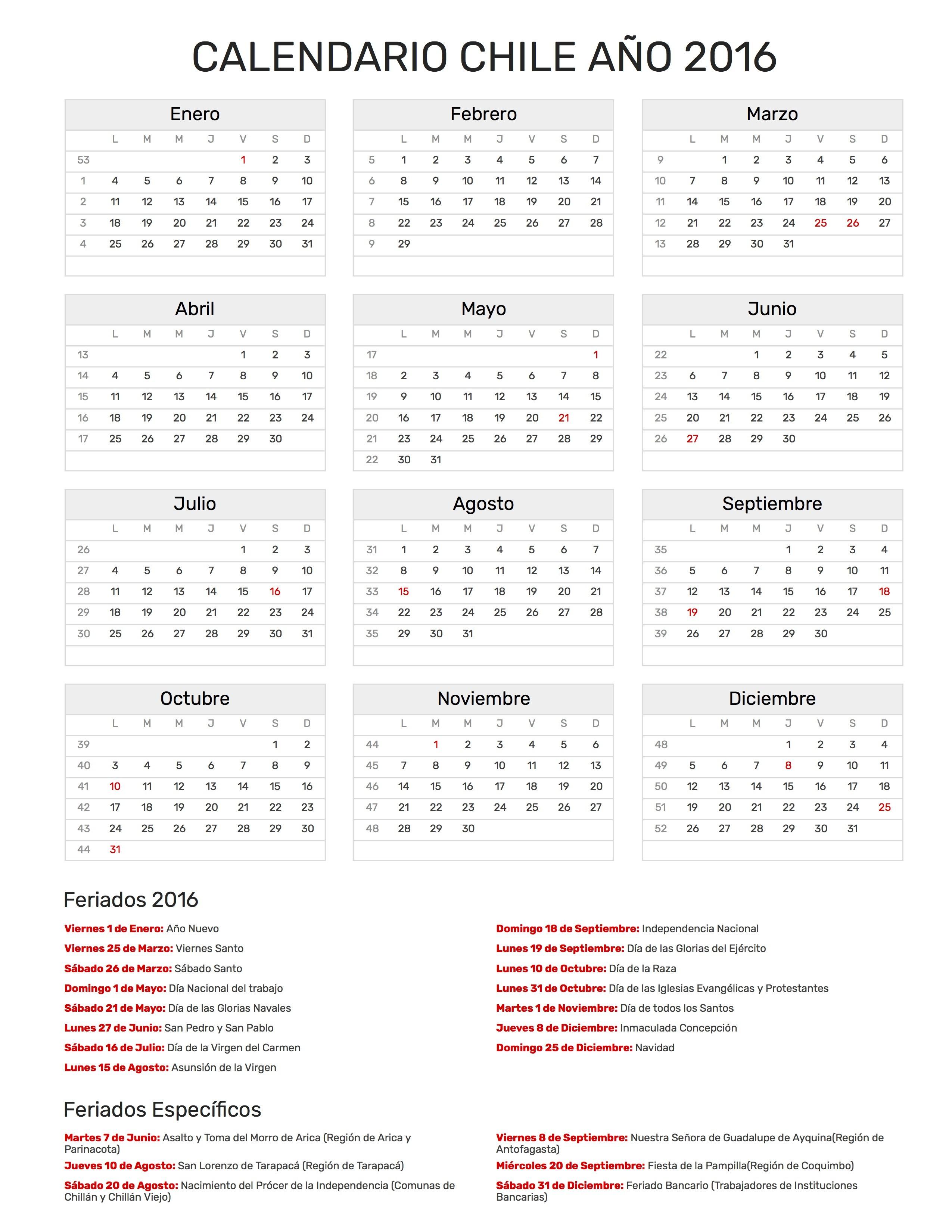 Calendario Chile 2016