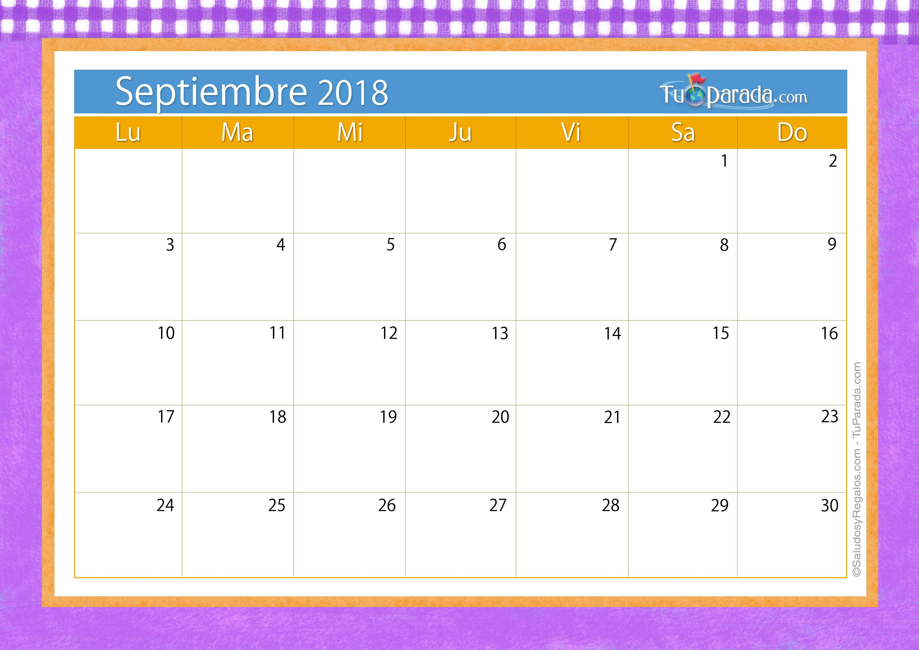 calendario deco septiembre 2018