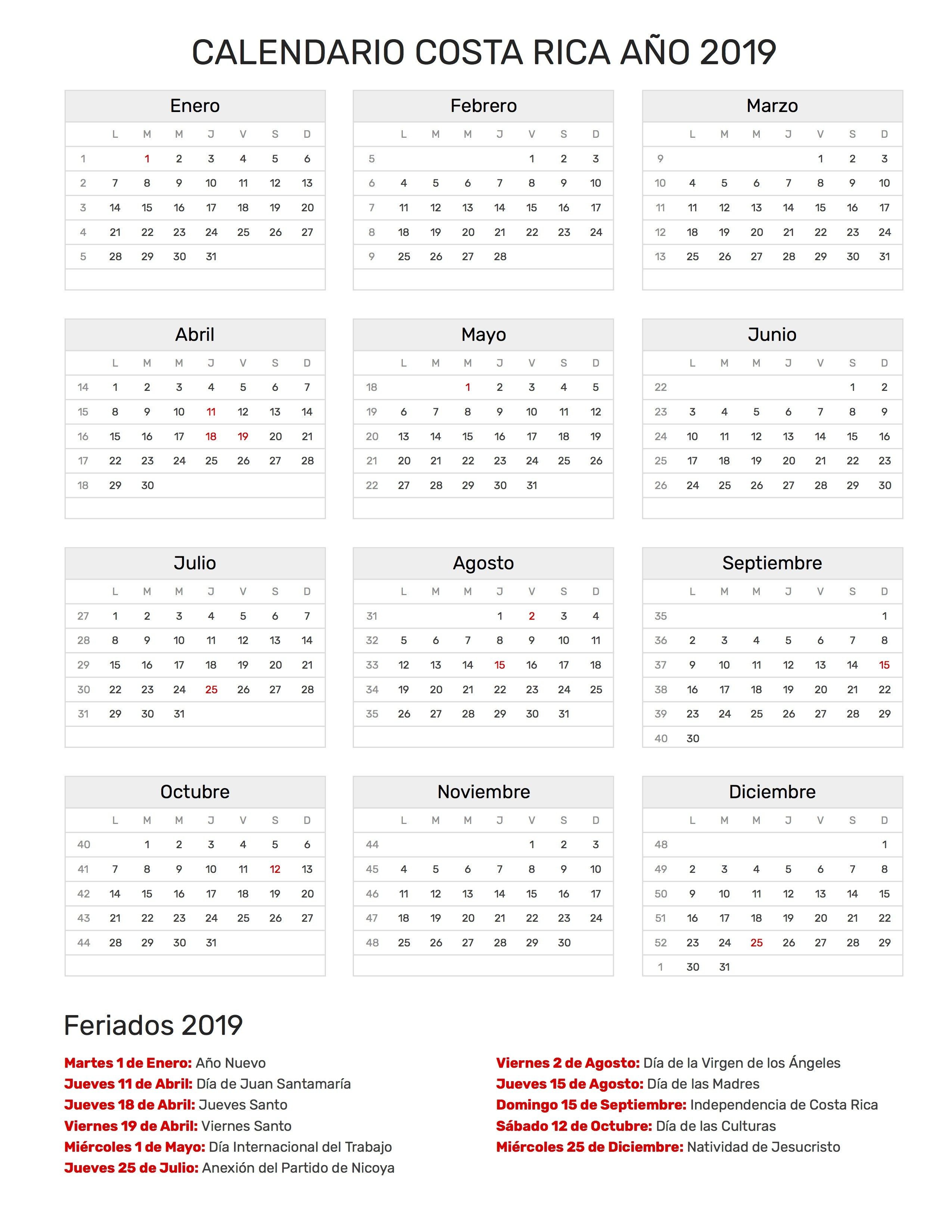 Calendario Costa Rica 2019 pdf