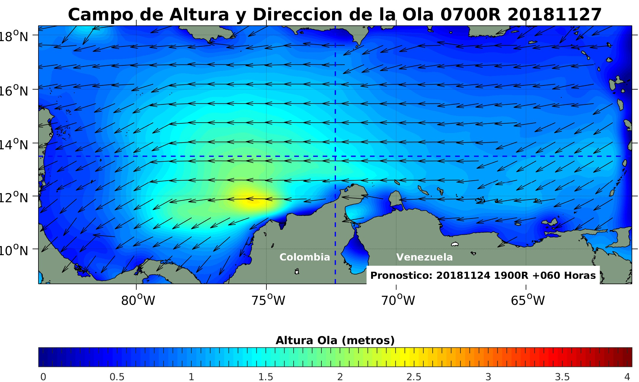 Map of the Caribbean sea with wave forecast