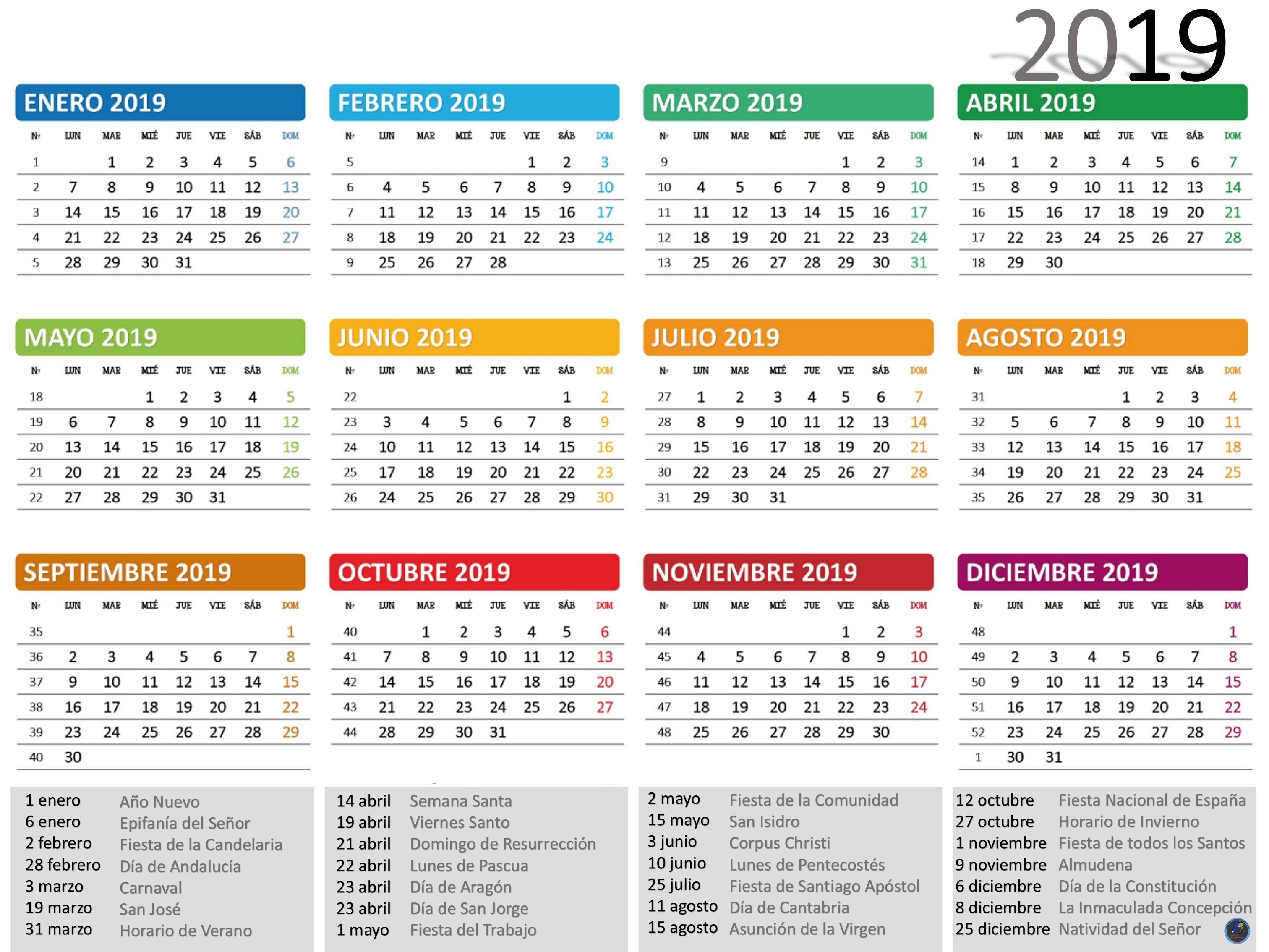 2019 Calendario Malasia