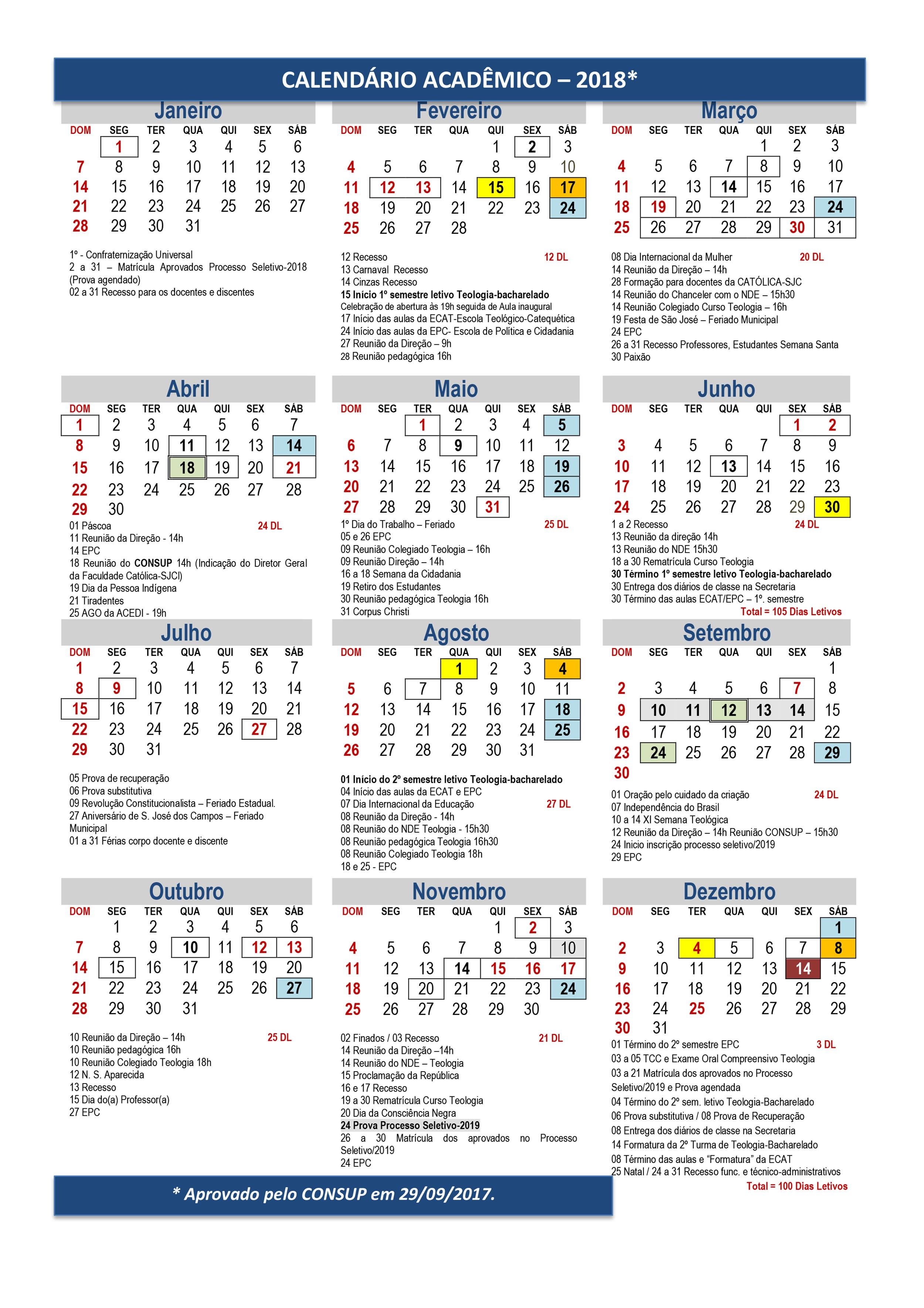 Calendário Acadªmico