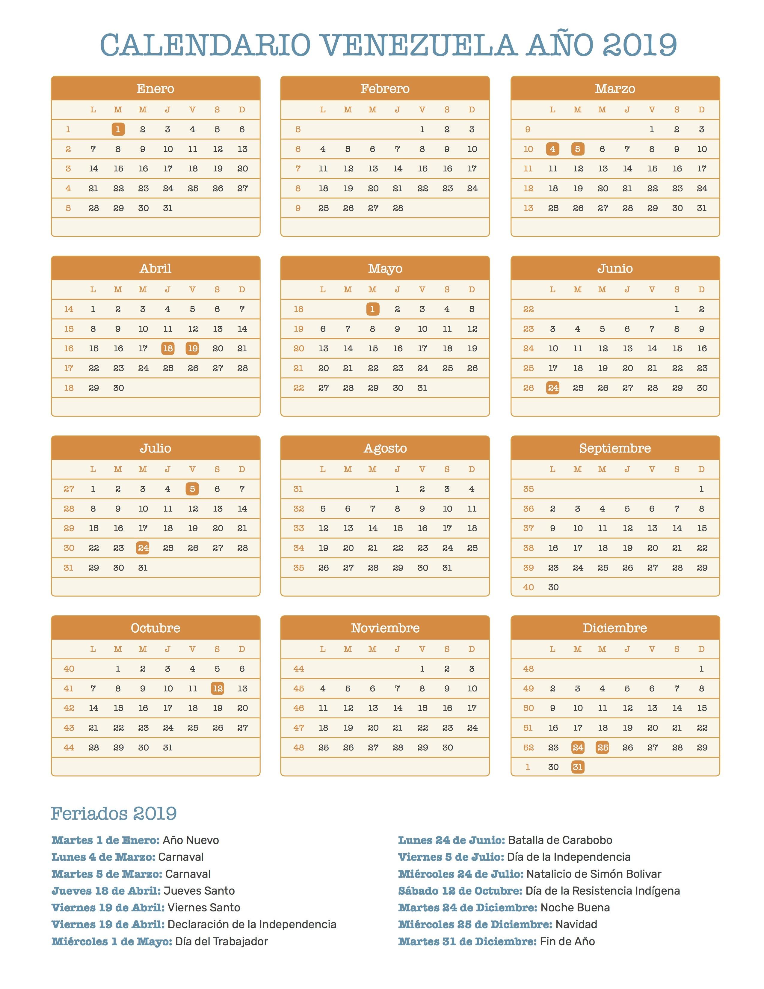 Calendario para Imprimir de Venezuela con feriados 2019