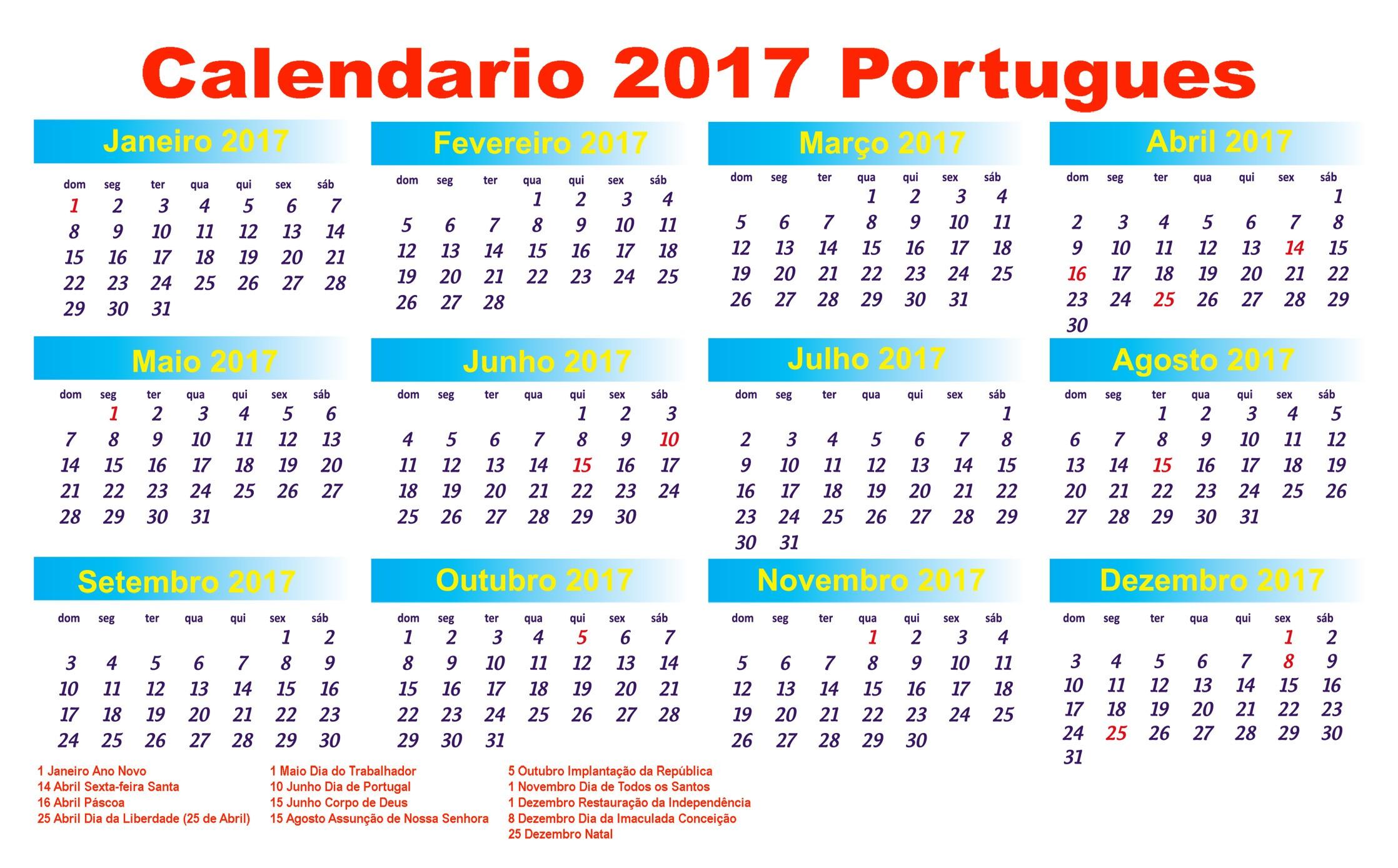 calendário 2017 feriados nacionais portugal