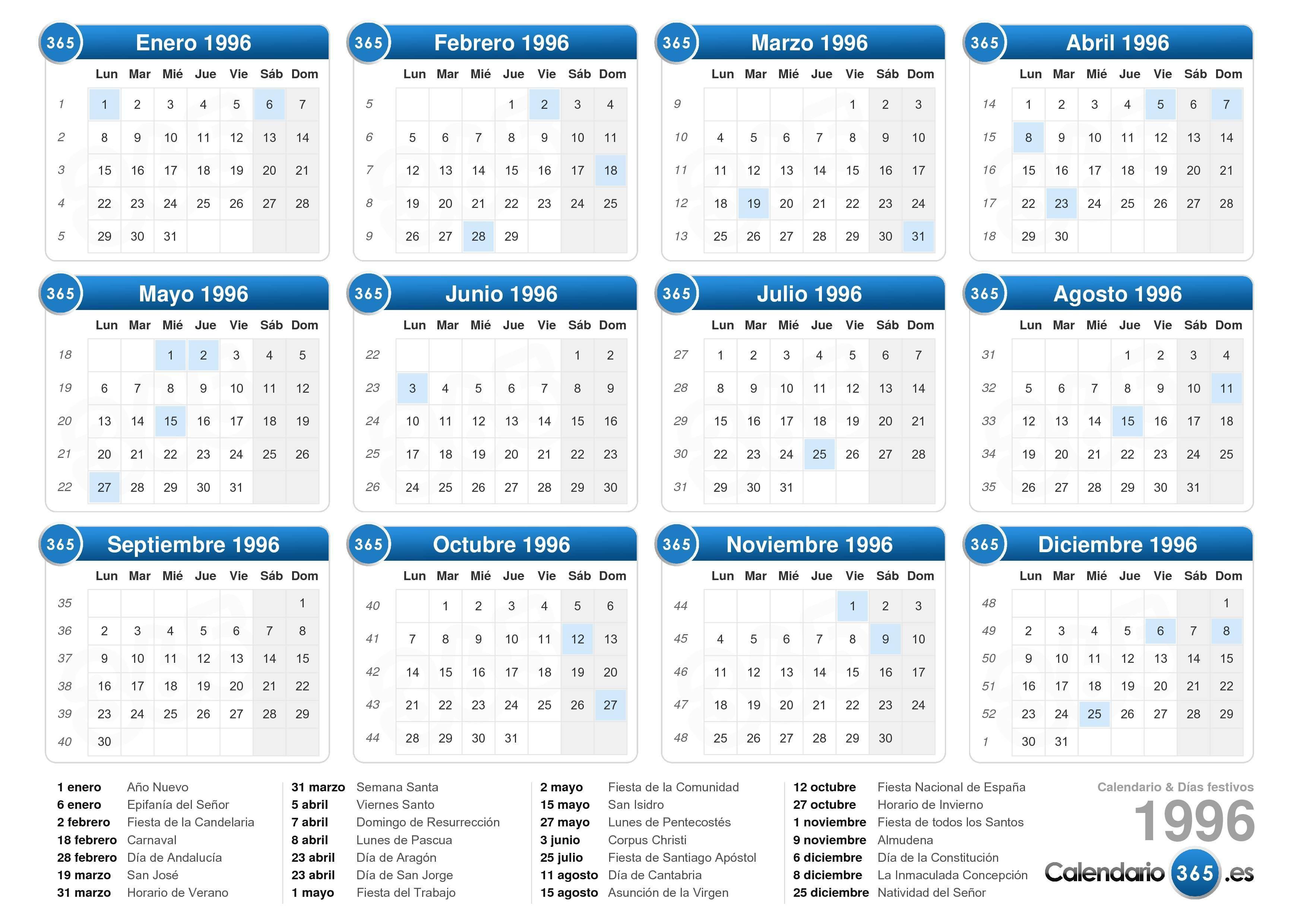 calendario 1996