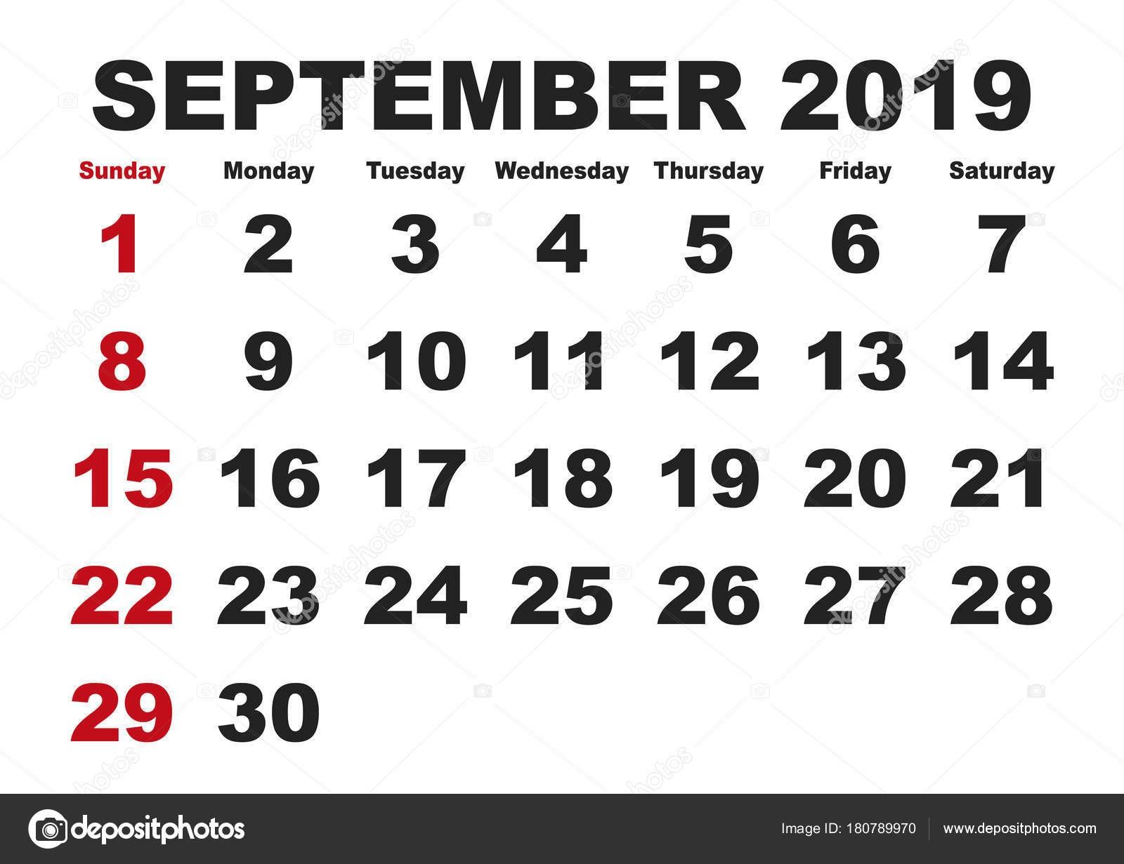 Calendario mes de septiembre de 2019 Calendario imprimible de vector Planificador mensual La semana ienza el domingo Calendario inglés imágenes