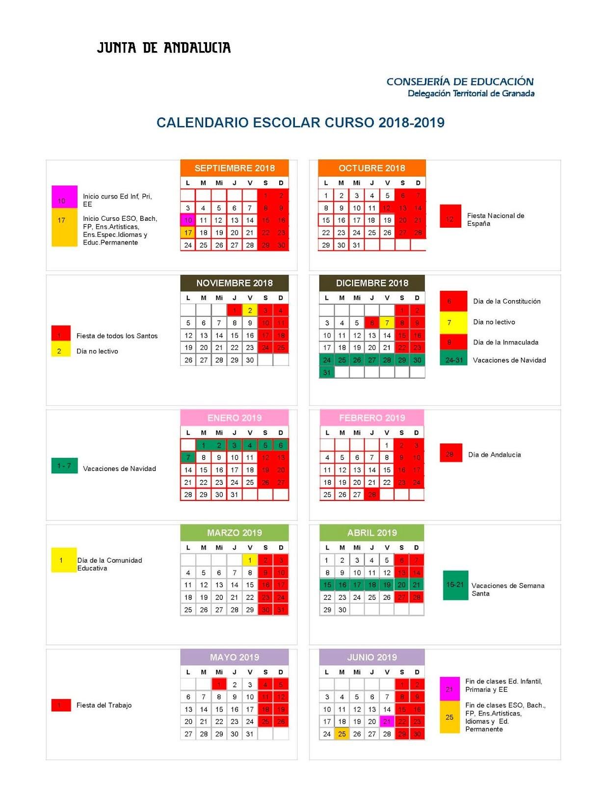 Calendario 2019 Con Festivos Marcados Más Arriba-a-fecha Nuestro Colegio Calendario Escolar 2018 2019