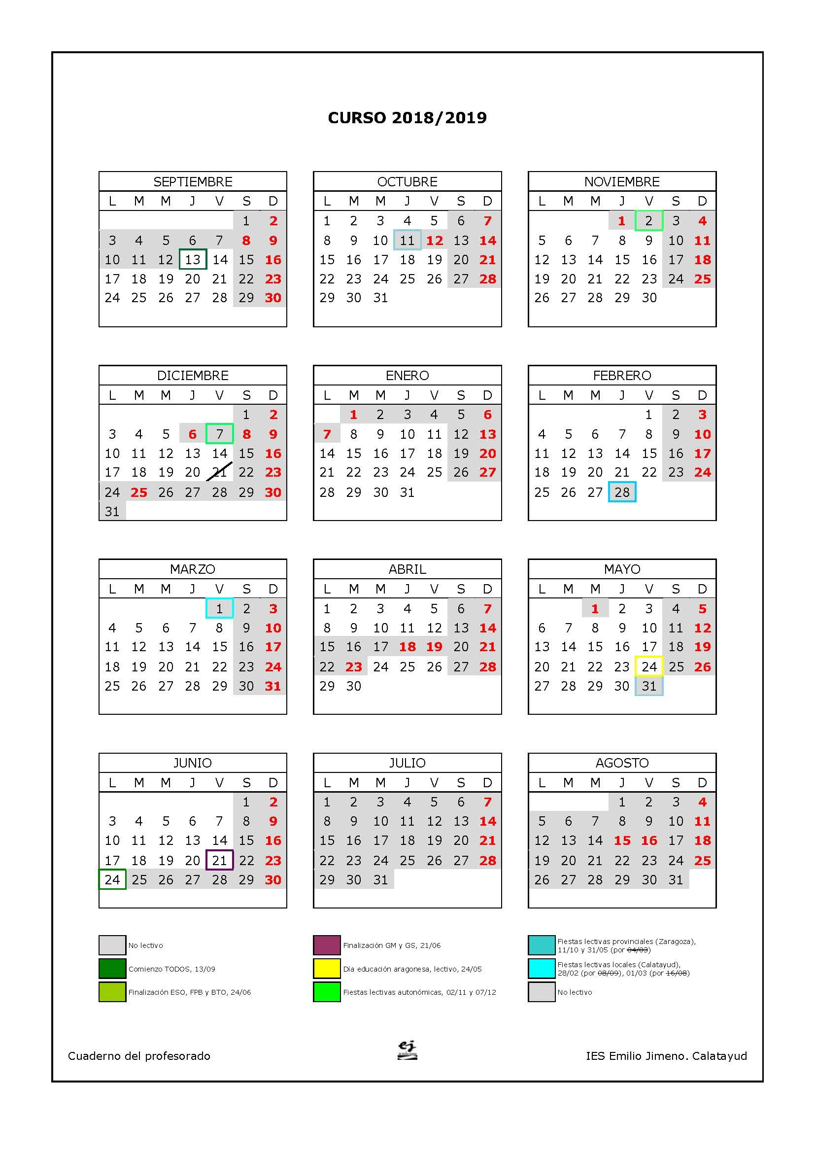 Calendario 2019 Con Festivos Nacionales Mejores Y Más Novedosos Calendario Escolar – Ies Emilio Jimeno Of Calendario 2019 Con Festivos Nacionales Más Arriba-a-fecha Calendario Escolar 2018 2019 En Barcelona afterscool