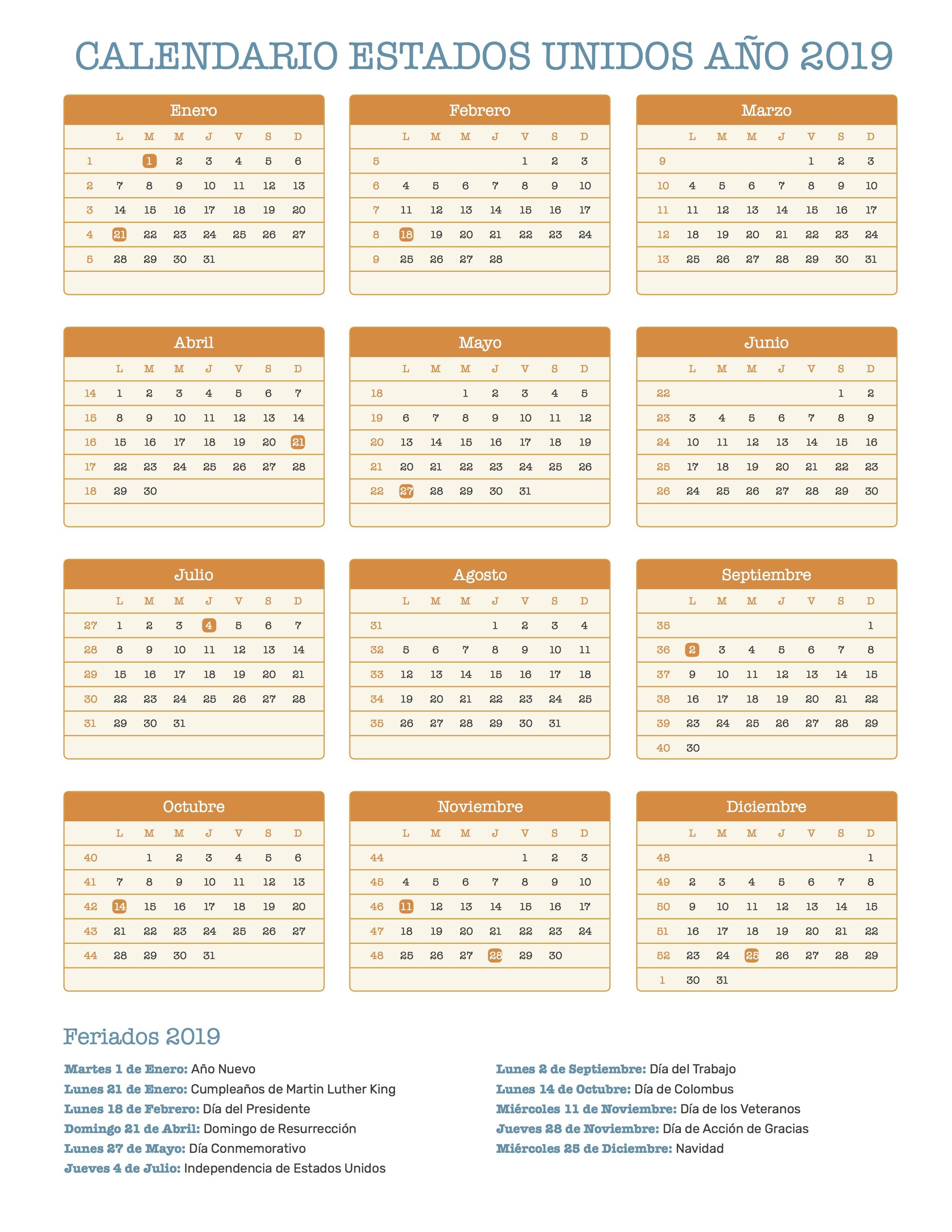 Calendario de Estados Unidos a±o 2019 para imprimir
