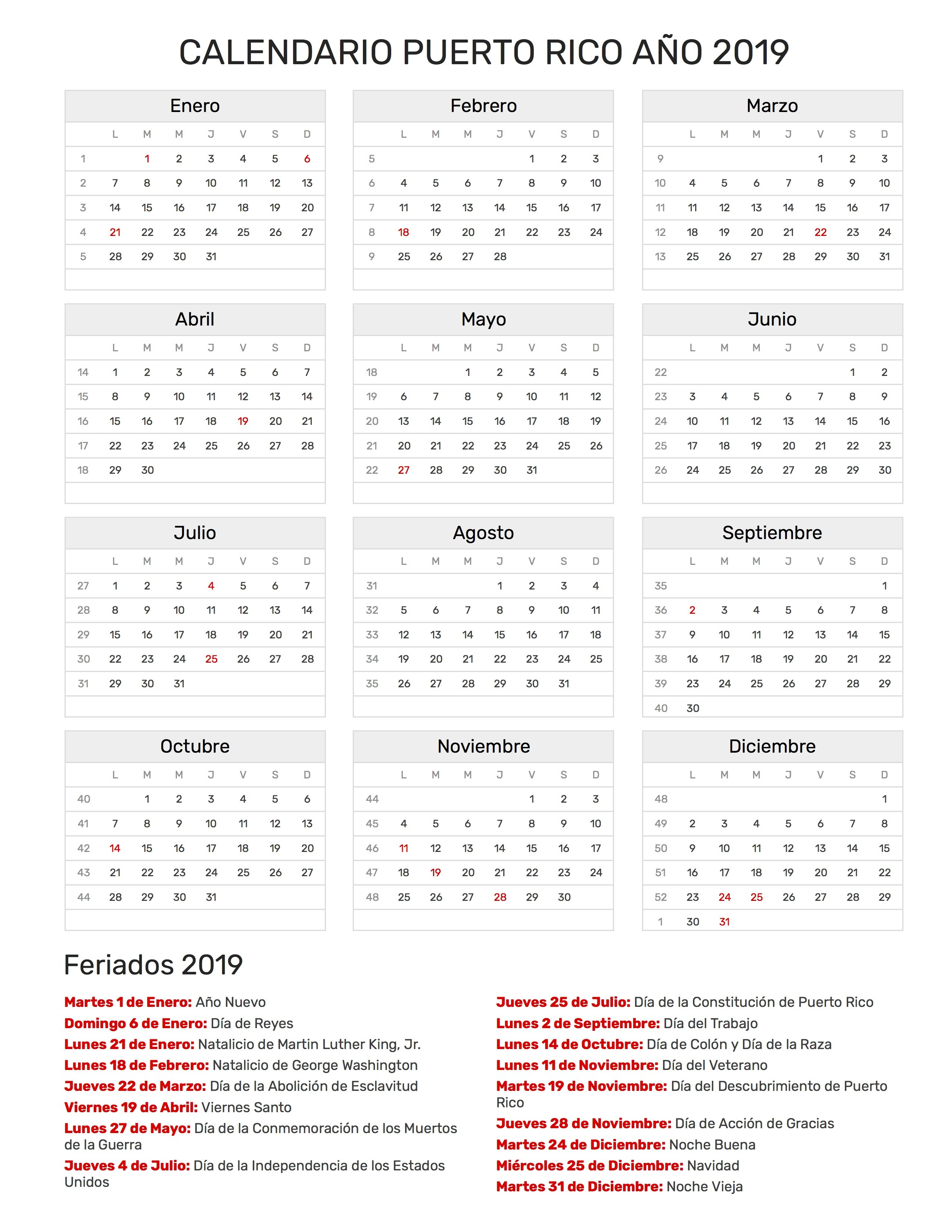 Calendario para Imprimir de Puerto Rico con feriados 2019