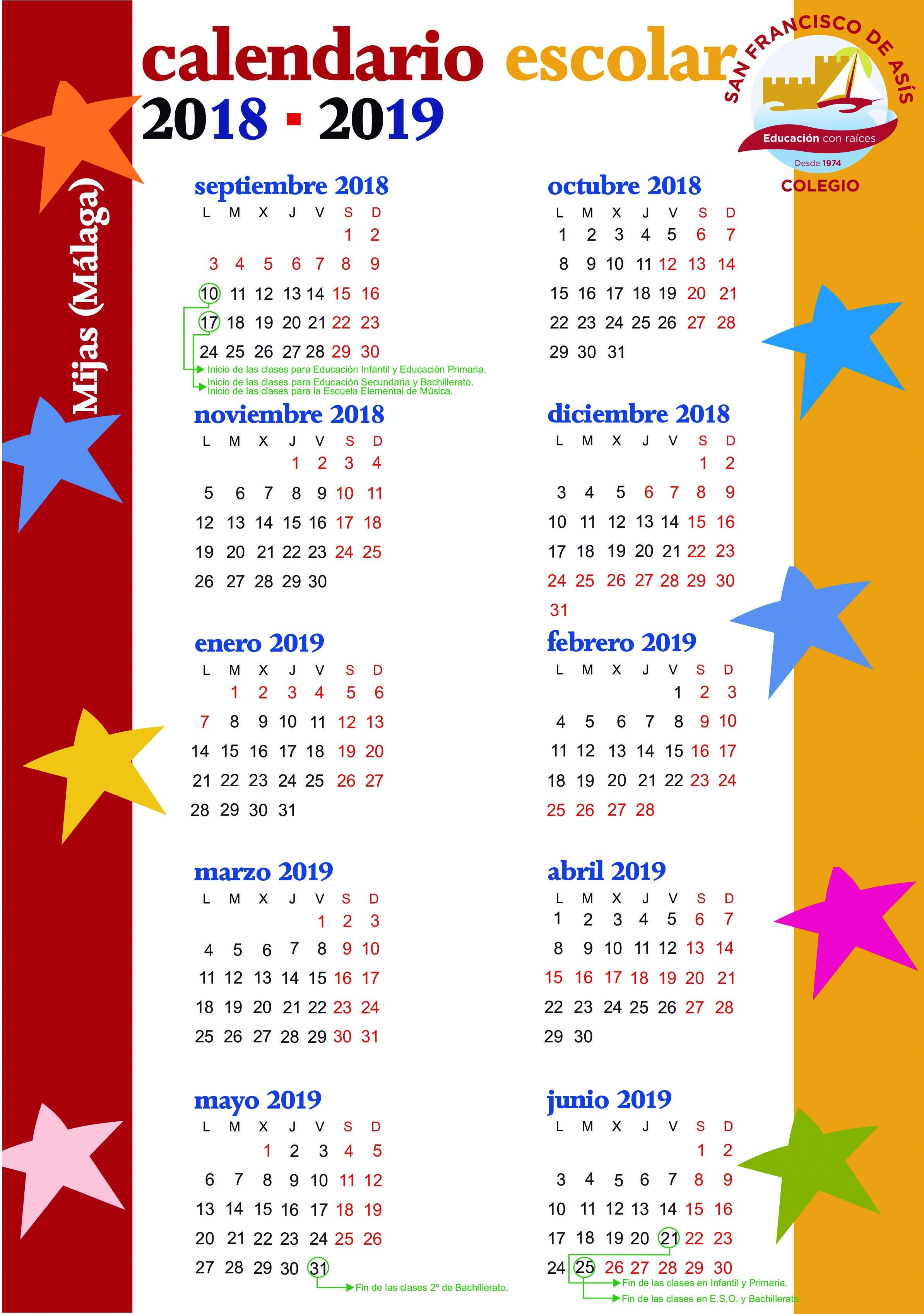 Calendario 2019 Escolar Argentina Mejores Y Más Novedosos Calendario Escolar Colegio San Francisco De as­s Of Calendario 2019 Escolar Argentina Más Caliente Calendario 2018 2019 – Baica
