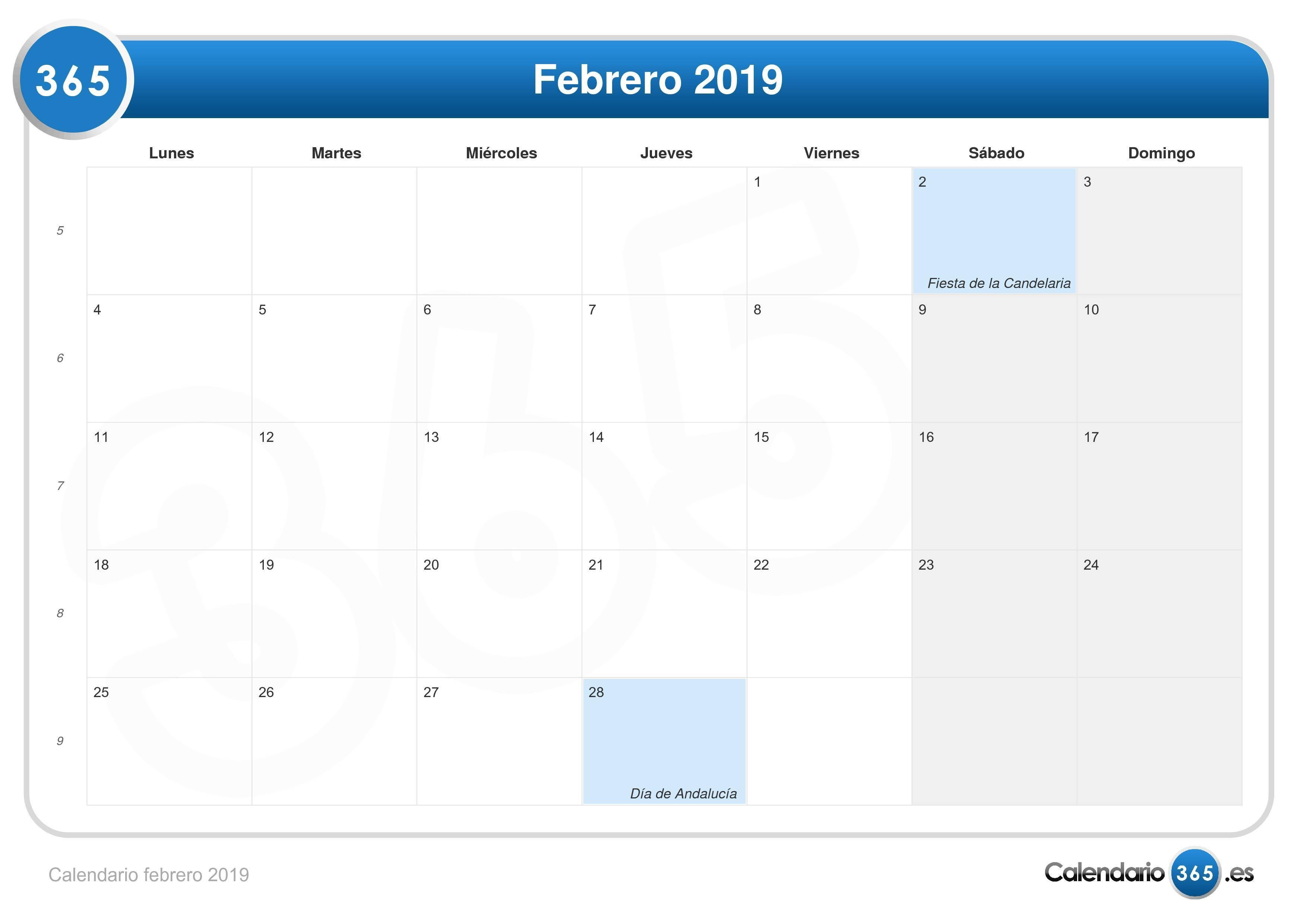 Calendario 2019 Febrero Más Populares Calendario Febrero 2019