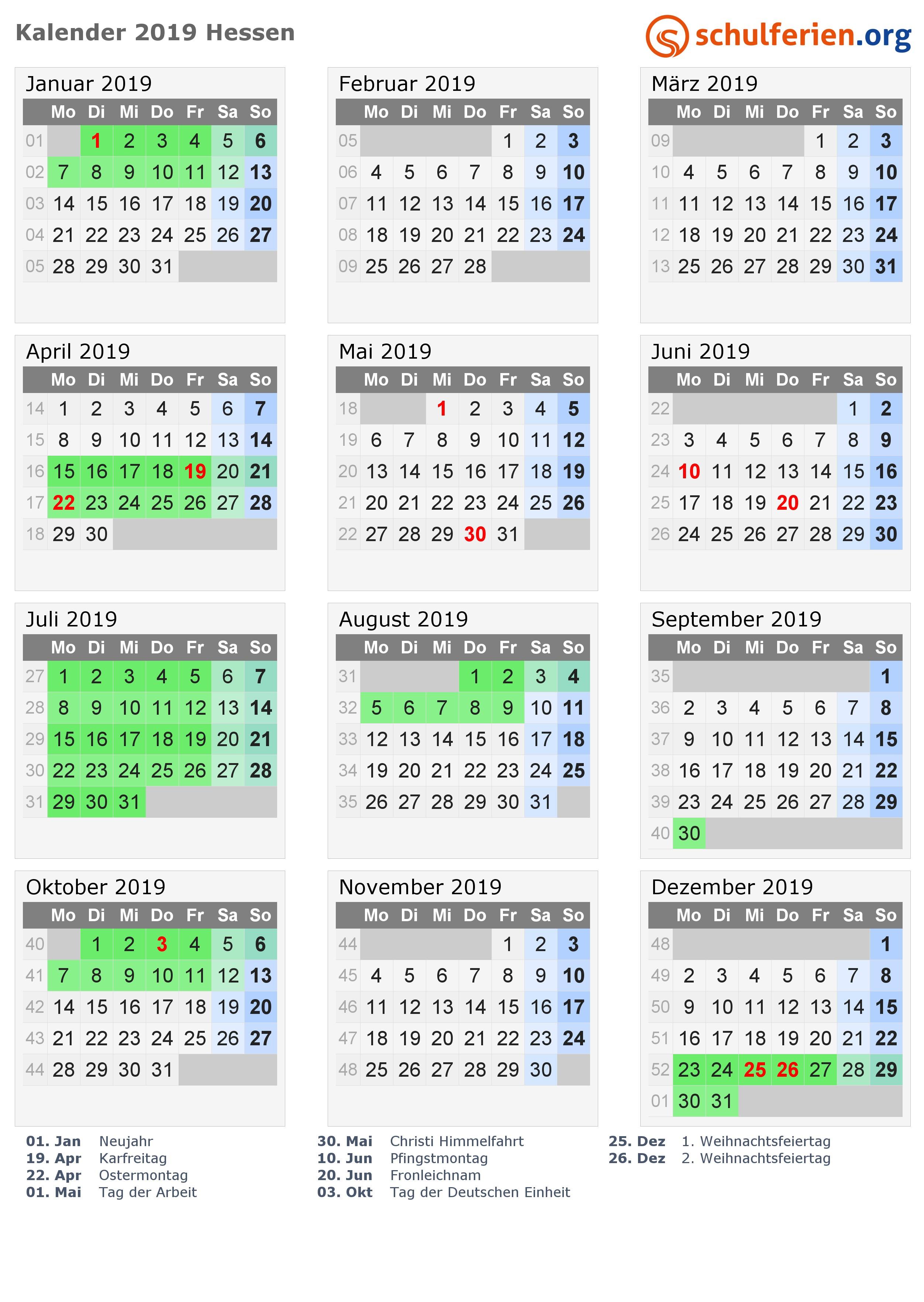 Kalender 2019 mit Ferien und Feiertagen Hessen