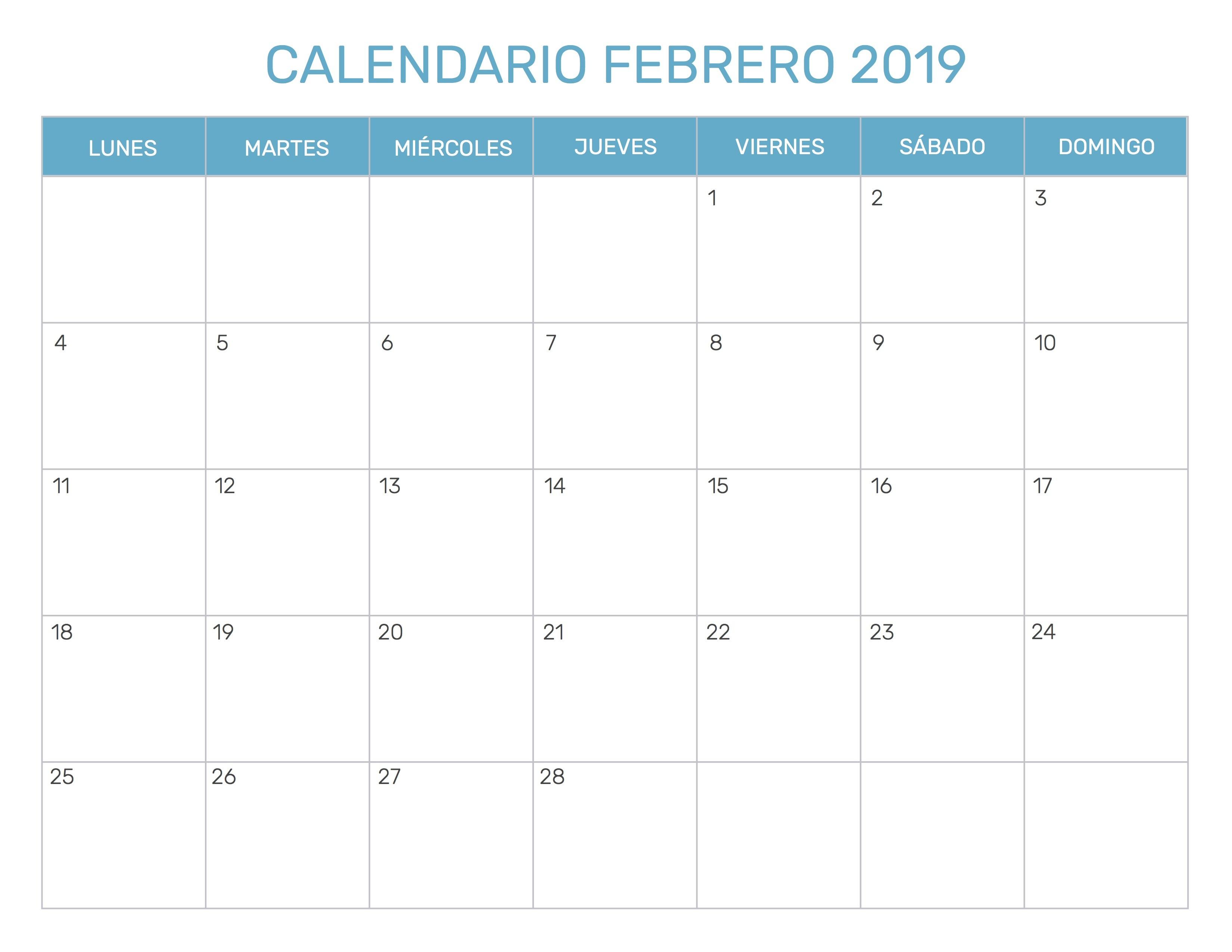 Solo ten en cuenta algunas jornadas o el Da de Andaluca que cae el 28 Descarga z plantillas para personoficar tu mes 30dias de febrero de 2019