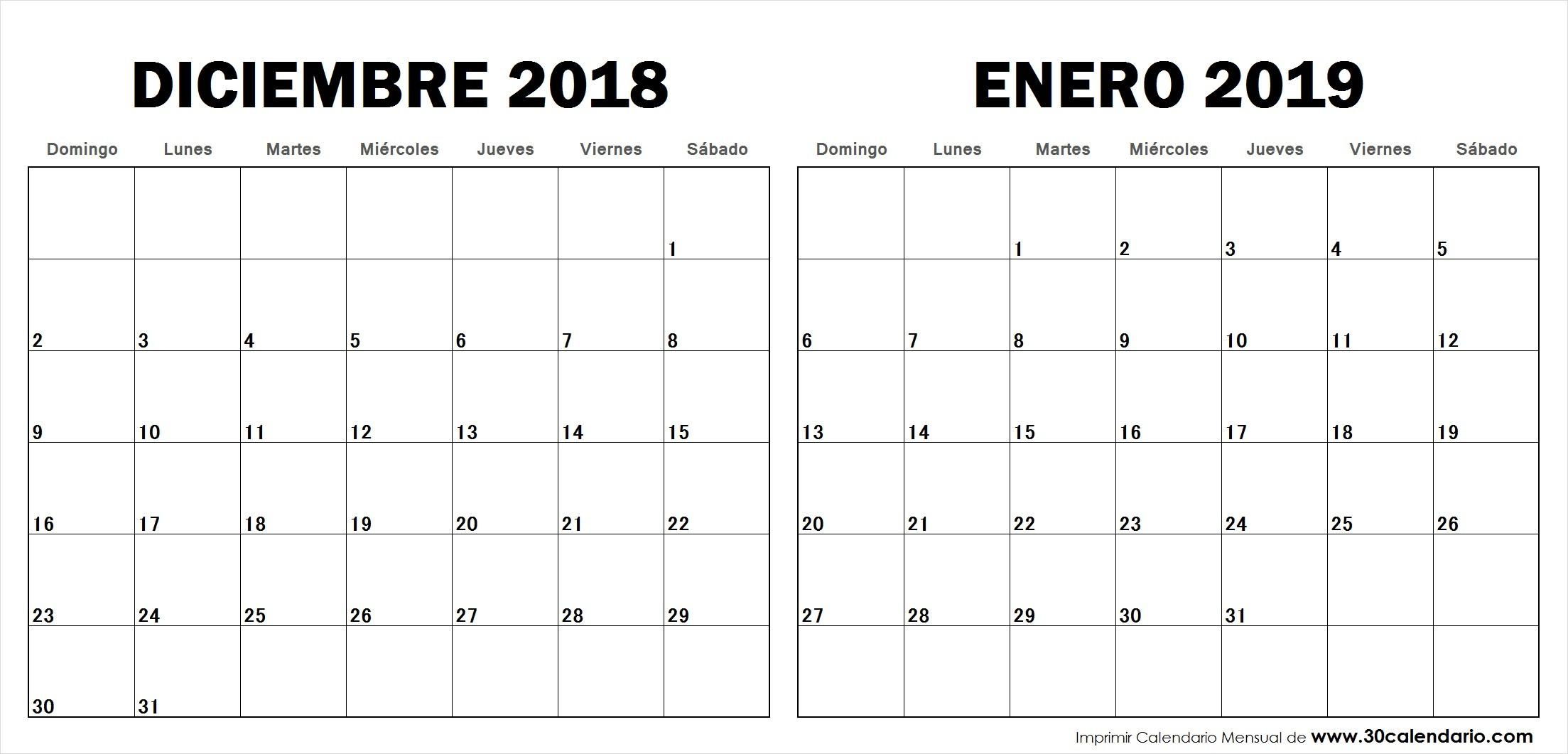 Calendario 2019 Feriados Excel Más Recientes Calendario Diciembre 2018 Enero 2019 Con Feriados Para Imprimir