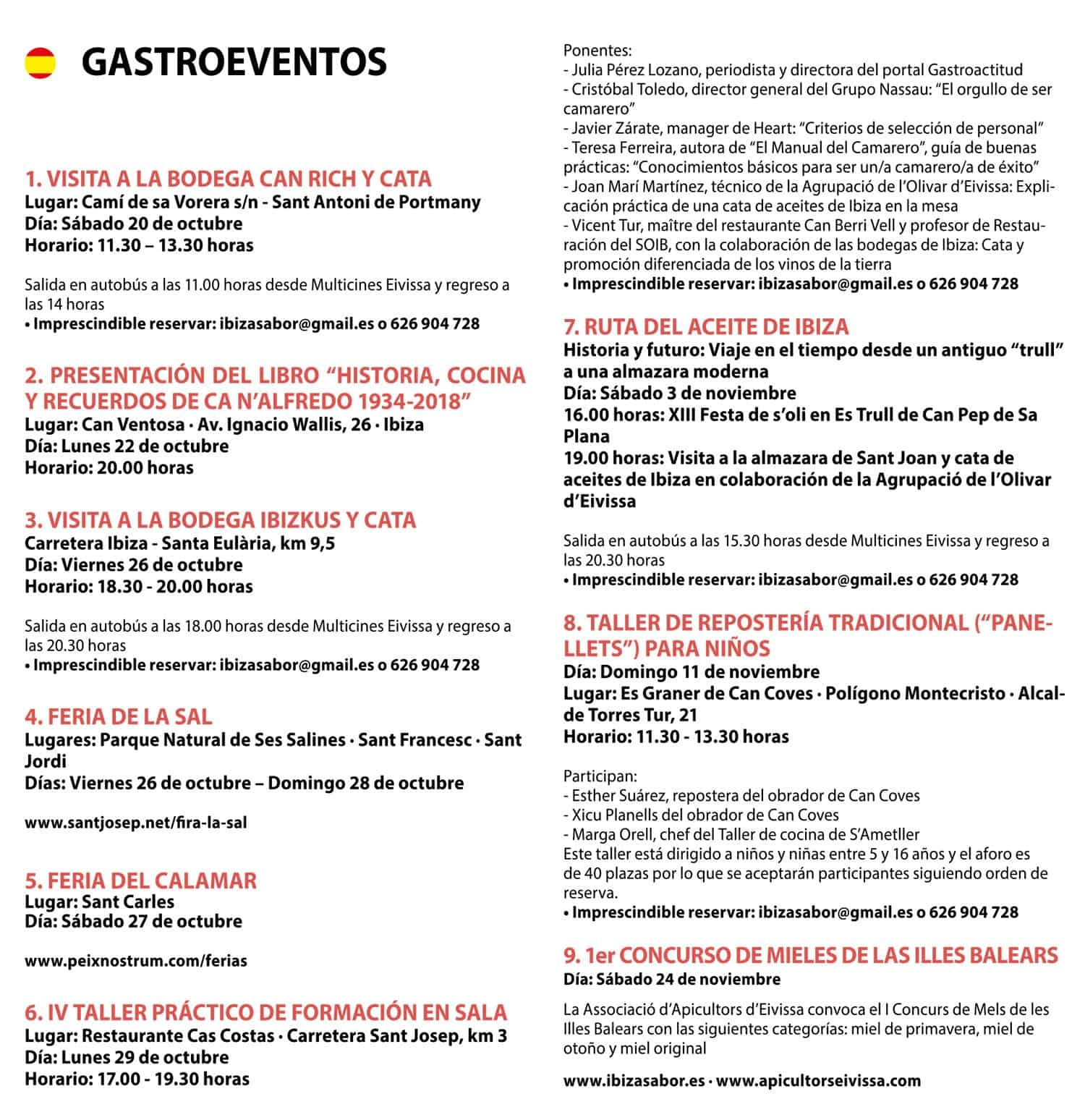 Planes en Ibiza Jornadas Gastron³micas Ibiza Sabor Oto±o 2018