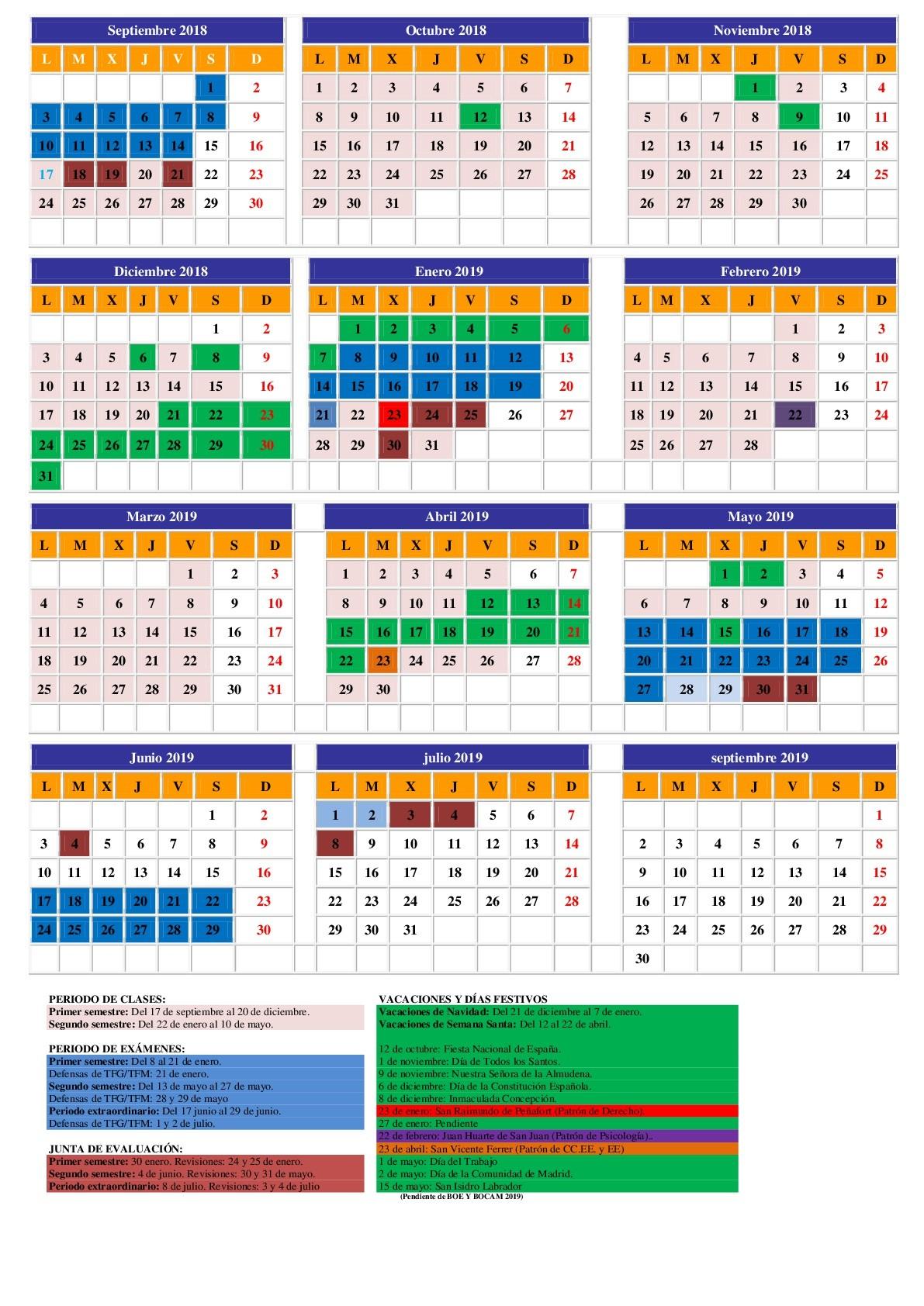 Calendario Académico 2018 2019