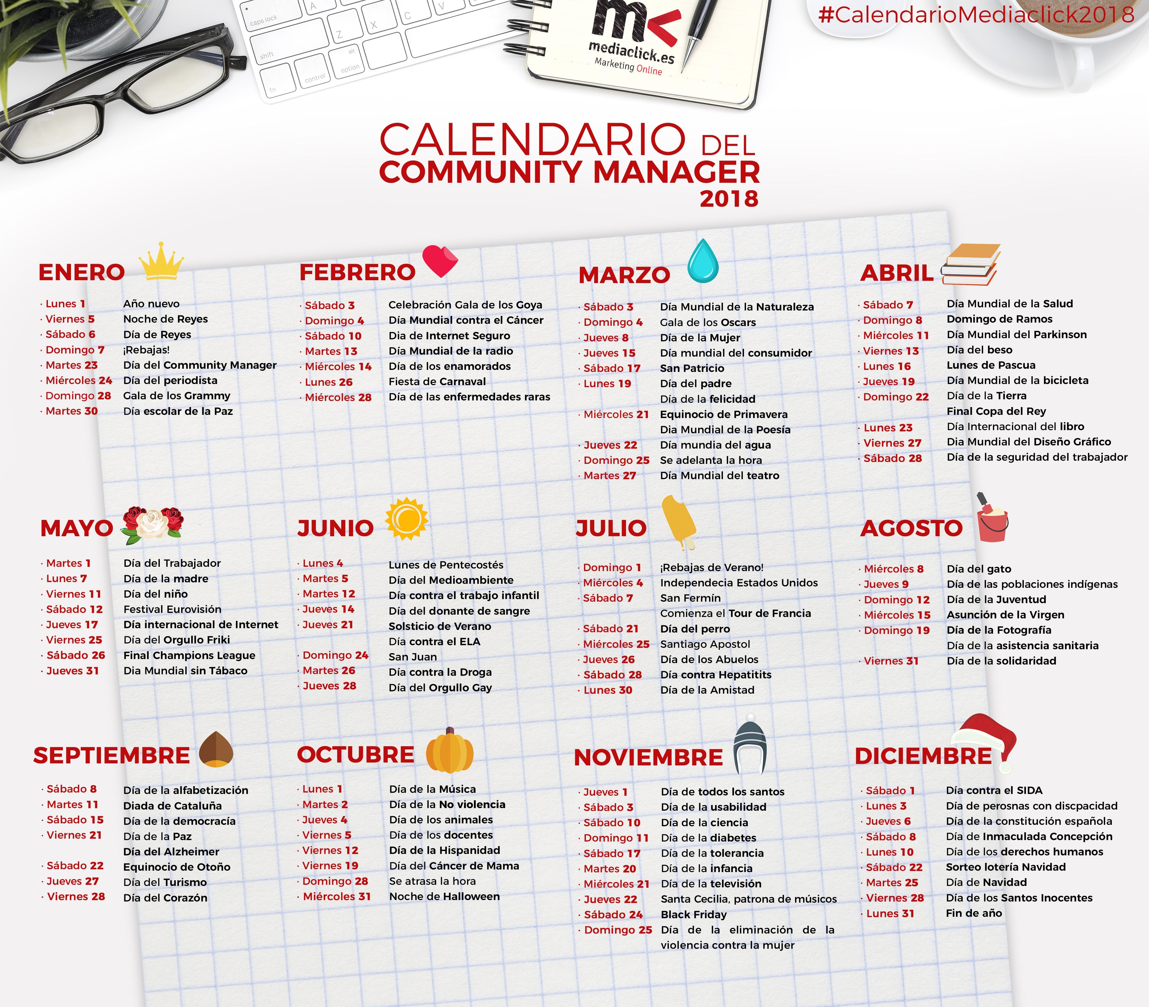 Calendario 2019 Honduras Con Feriados Mejores Y Más Novedosos Calendario Del Munity Manager 2018 Agencia Marketing Digital