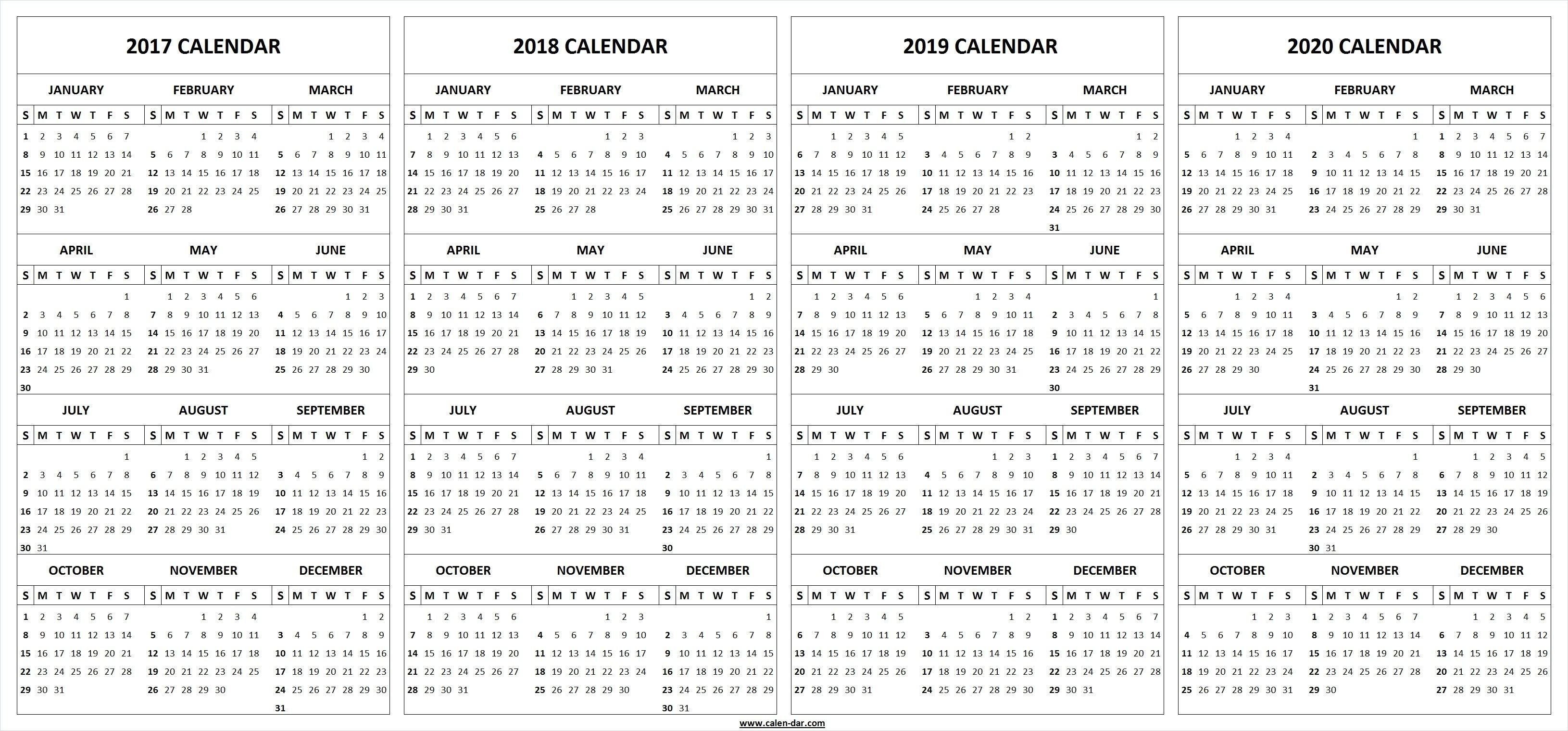 Calendario 2019 Imprimir A3 Más Arriba-a-fecha 4 Four Year 2017 2018 2019 2020 Calendar Printable Template Of Calendario 2019 Imprimir A3 Más Caliente Planificador Calendario Pared Para A±o 2019 Vector Plantilla