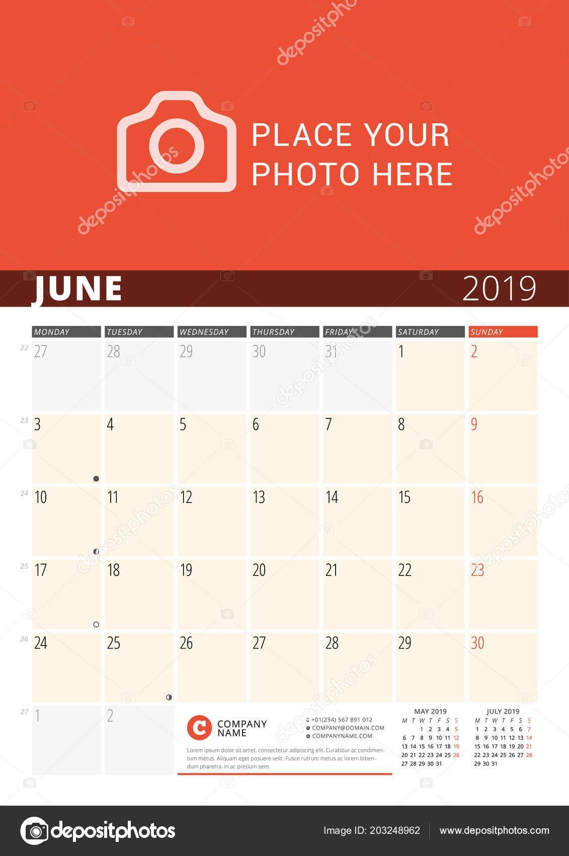 Planificador Calendario Pared Para A±o 2019 Vector Plantilla