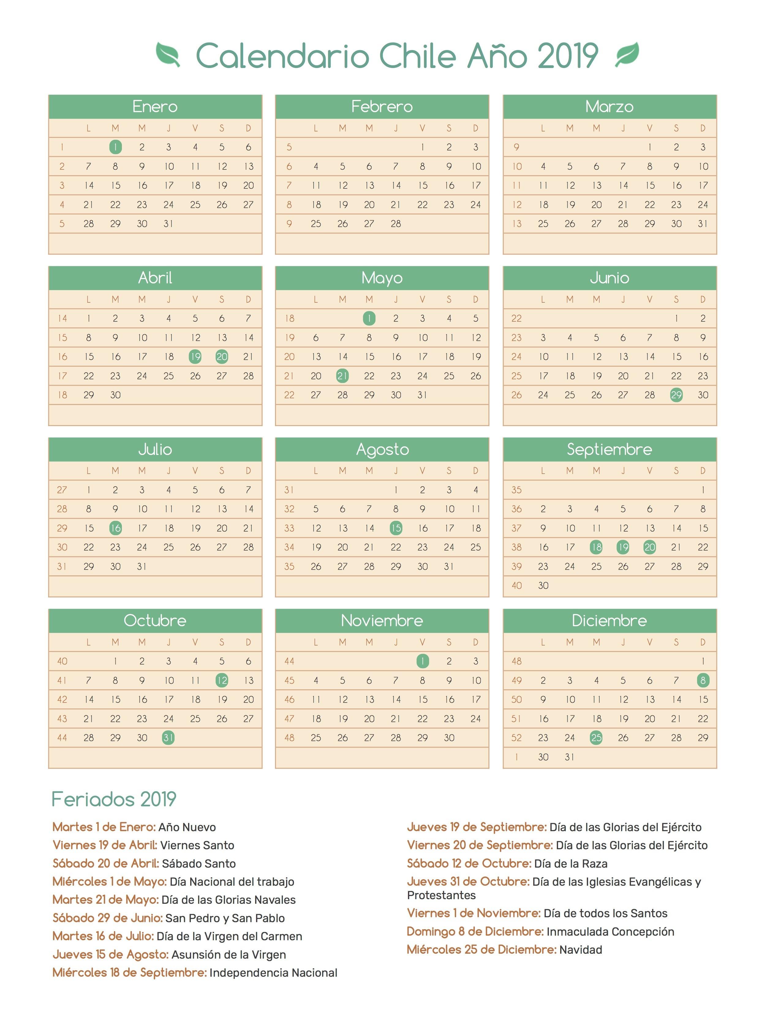 Calendario Chile a±o 2019