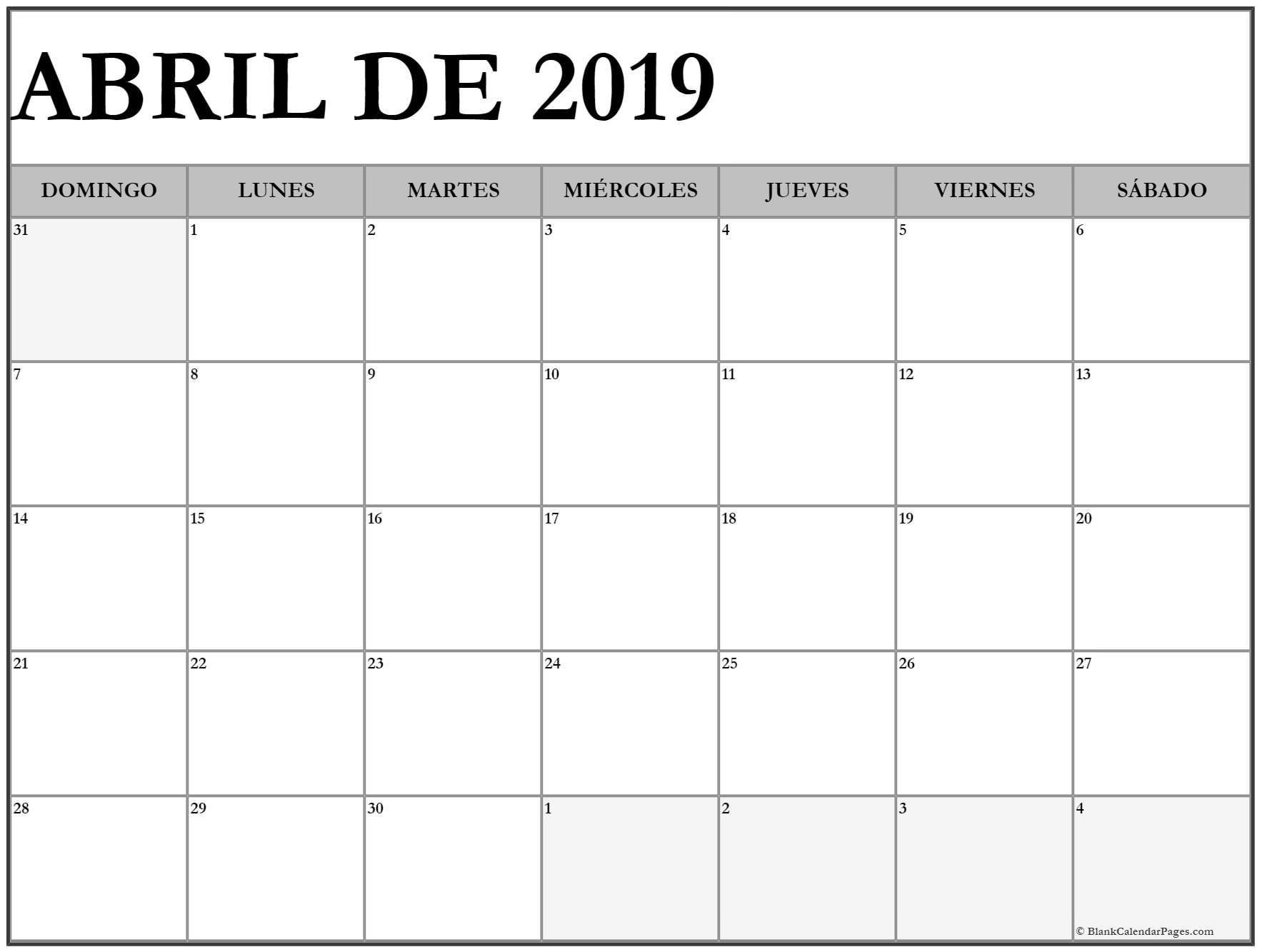 Calendario 2019 Imprimir Michelzbinden Actual Calendario Abril 2019 Seonegativo