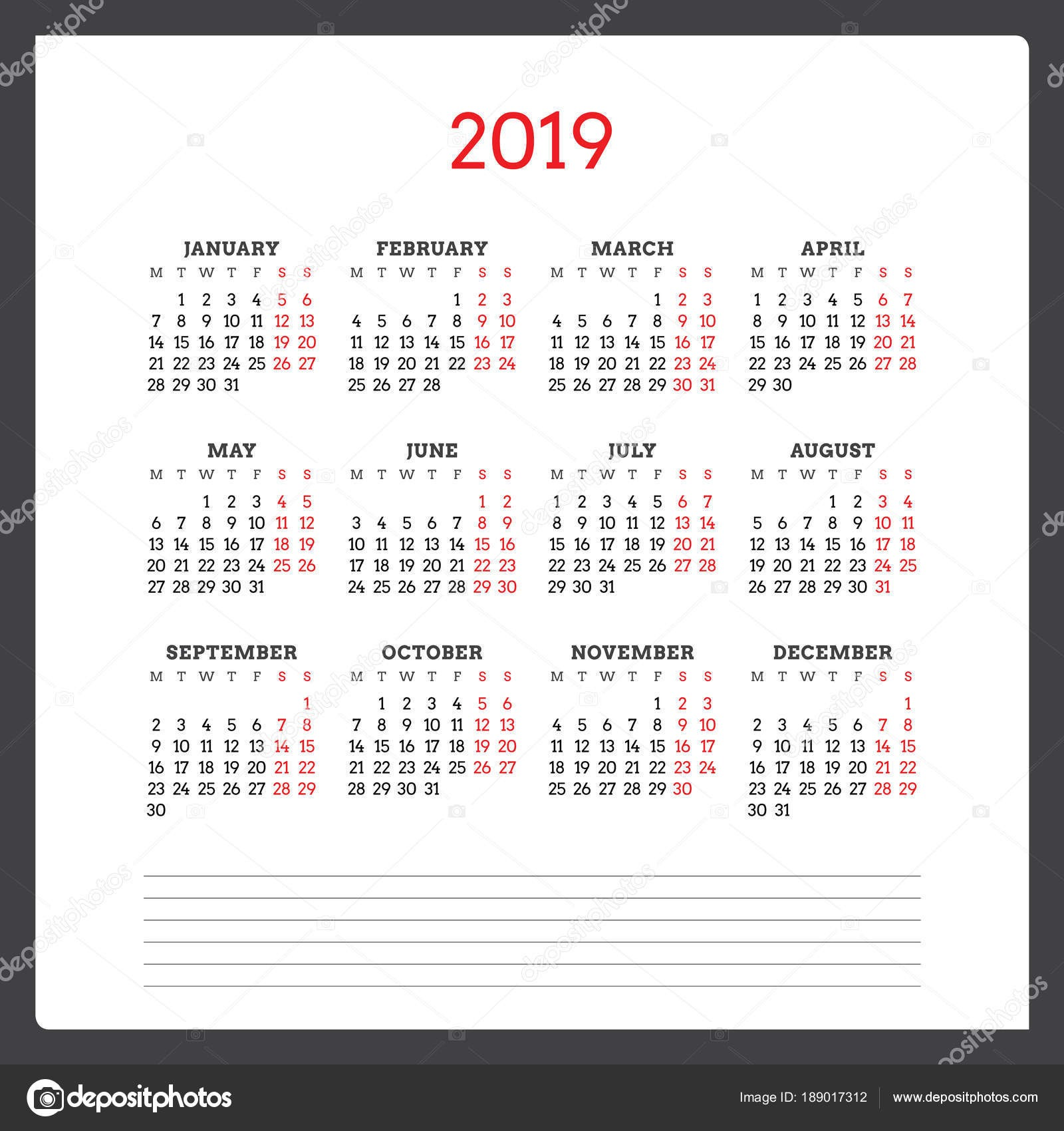 Kalendář na rok 2019 T½den začná v ponděl Åablona návrhu Å¡ablony tisk vektorové — Vektor od AntartStock