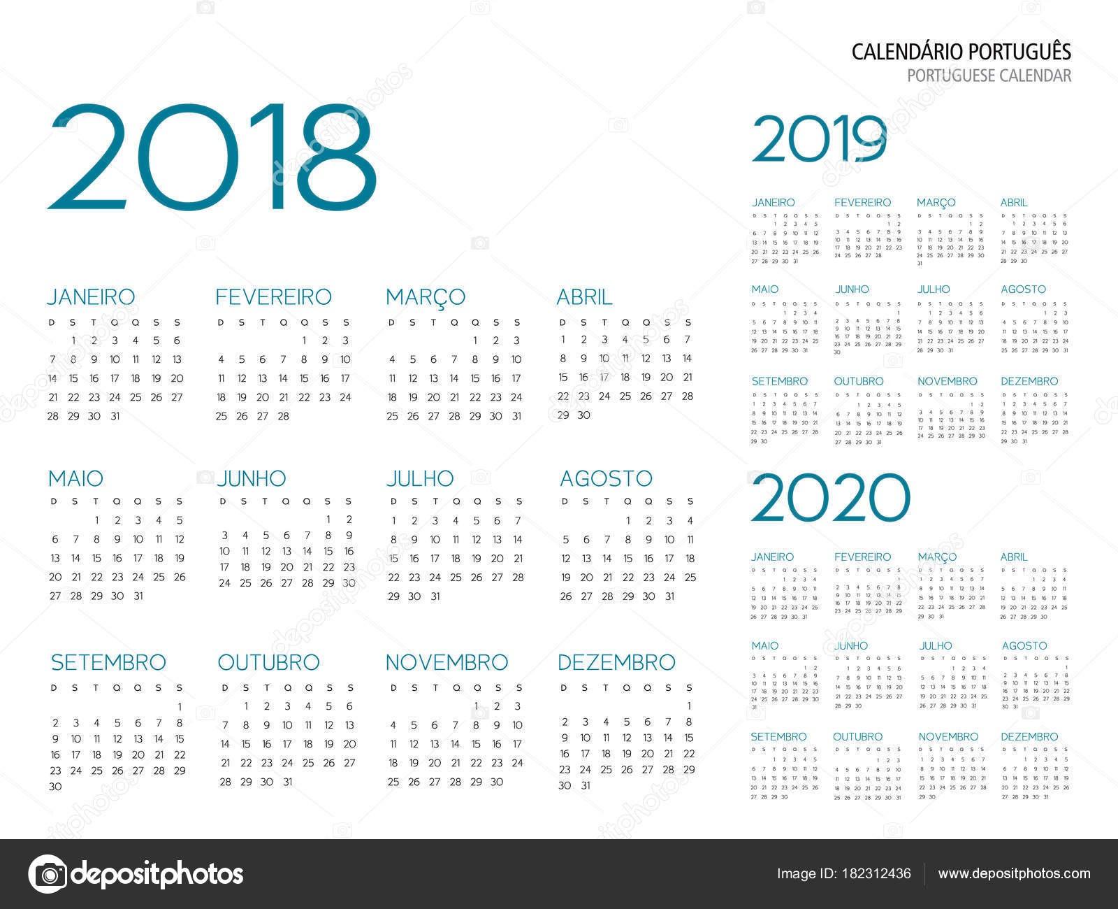 Portugalsk½ kalendáře mřÅ¾ky 2018 2019 2020 vektorové ilustrace obrysové psmo je Armata — Vektor od Juliedeshaies