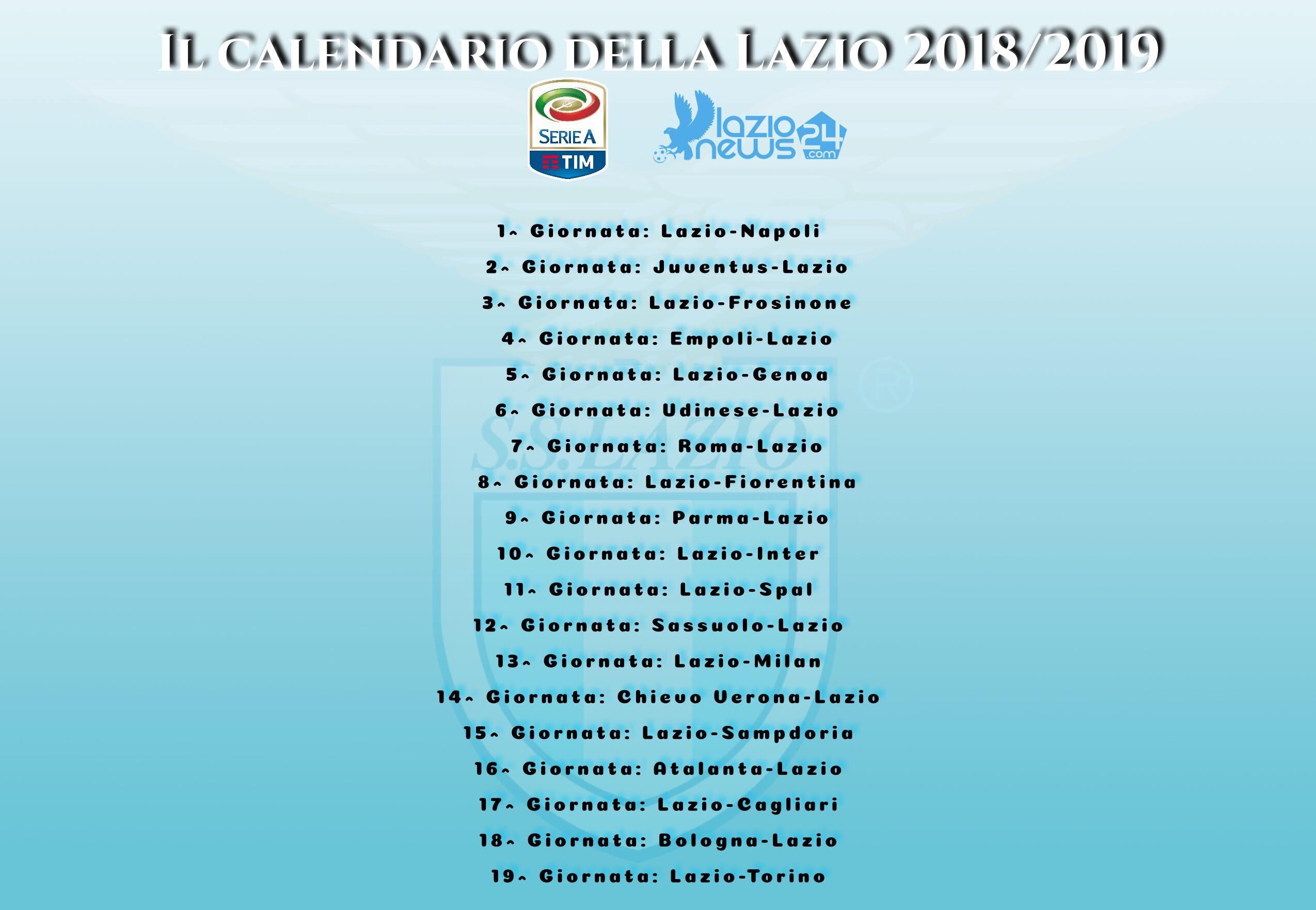 Calendario 2019 Inter Más Recientemente Liberado sorteggio Calendario Serie A 2018 2019 Lazio Napoli All Esordio Of Calendario 2019 Inter Más Recientes Anticipi E Posticipi Serie A 2018 2019 Partite E orari