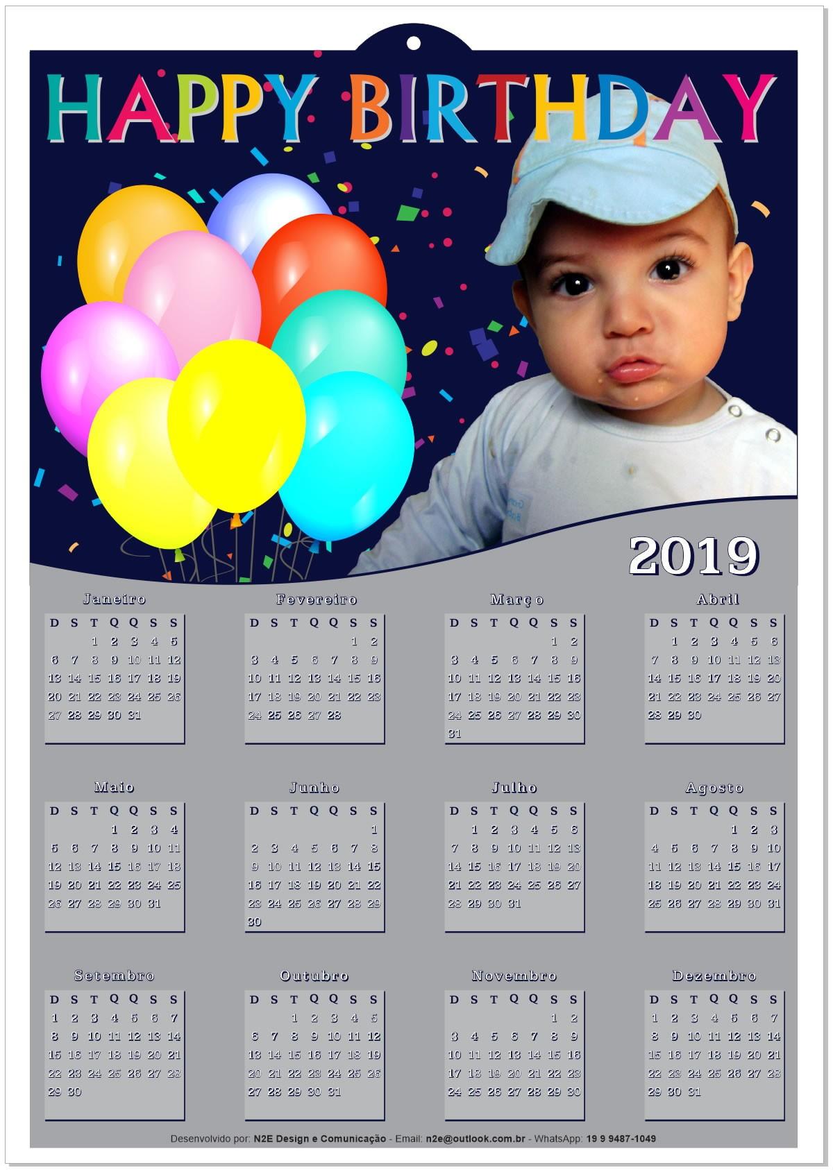 Calendário 2019 Personalizado a Foto do Seu Filho Tema no Elo7